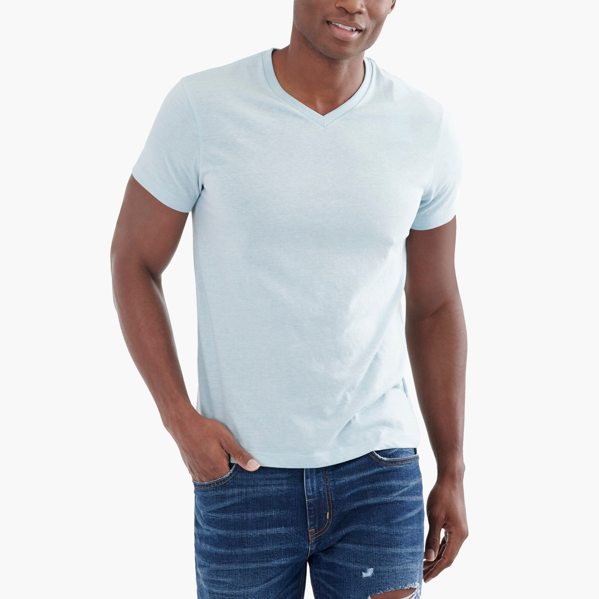 factory mens Slim heathered Broken-in V-neck T-shirt