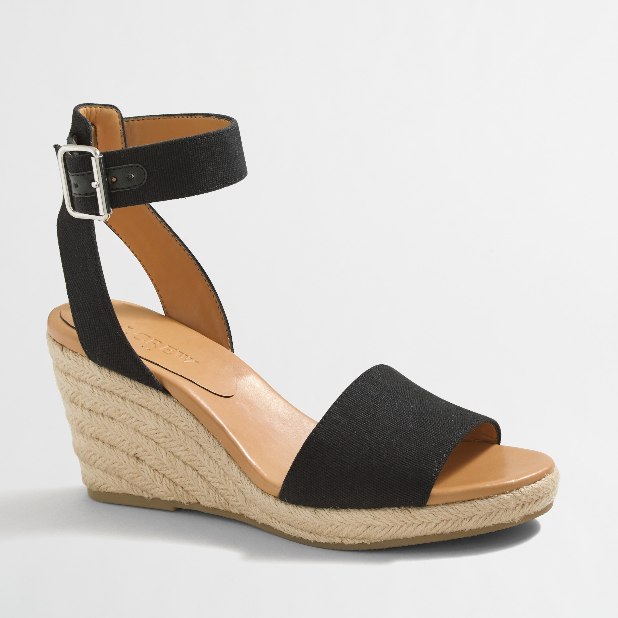 Strappy canvas espadrille wedges