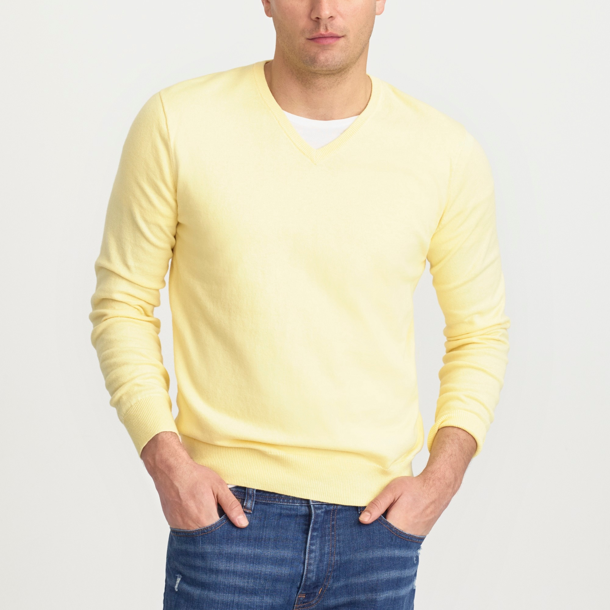 slim harbor cotton v-neck sweater : factorymen sweaters