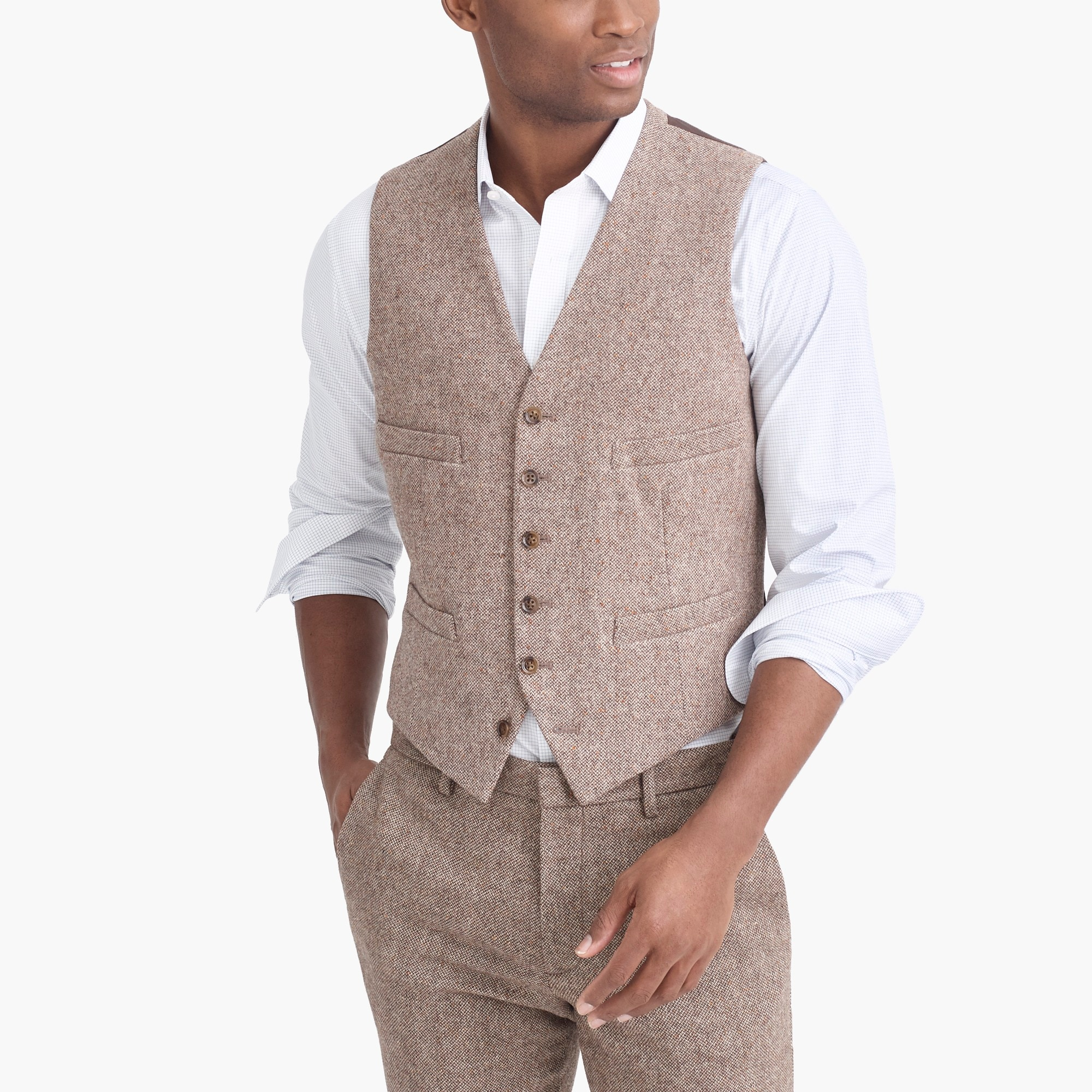 factory mens Thompson vest in bird's-eye wool