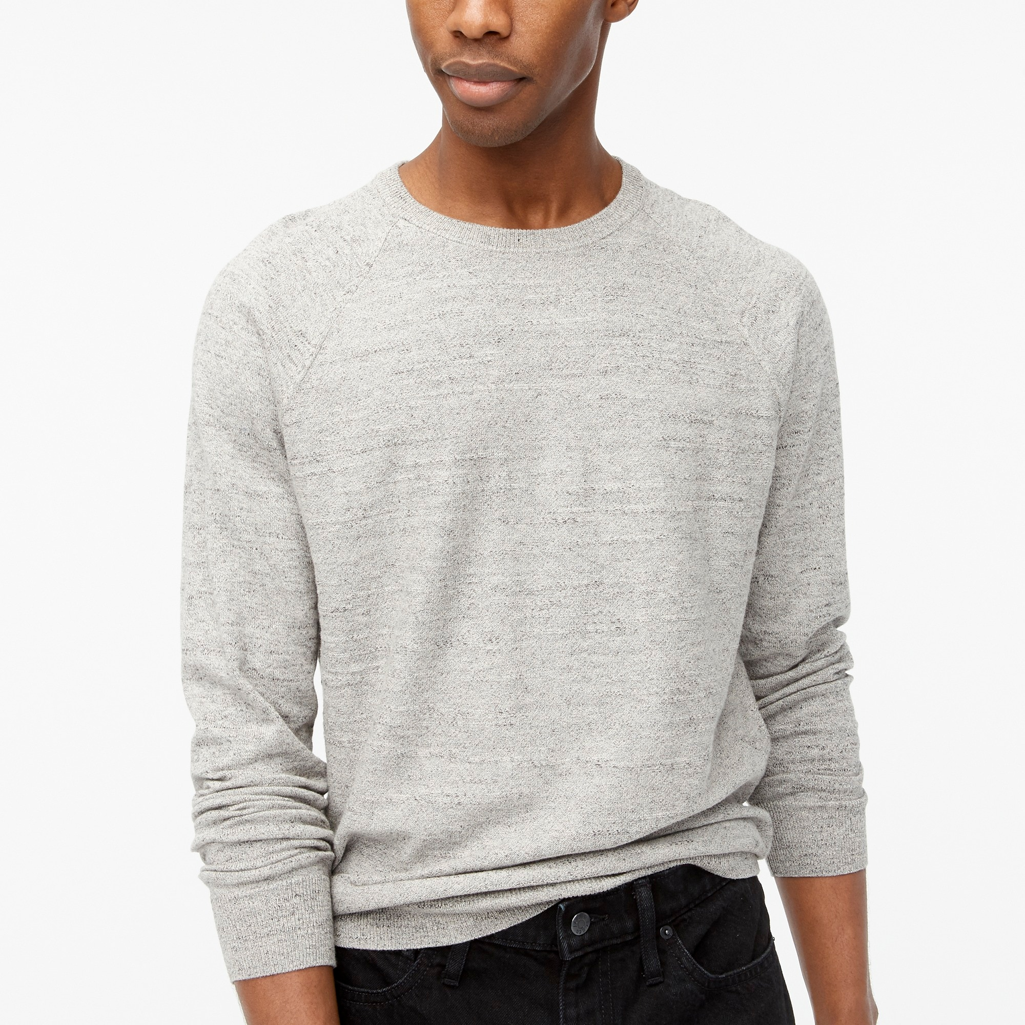 factory mens Textured cotton crewneck sweater