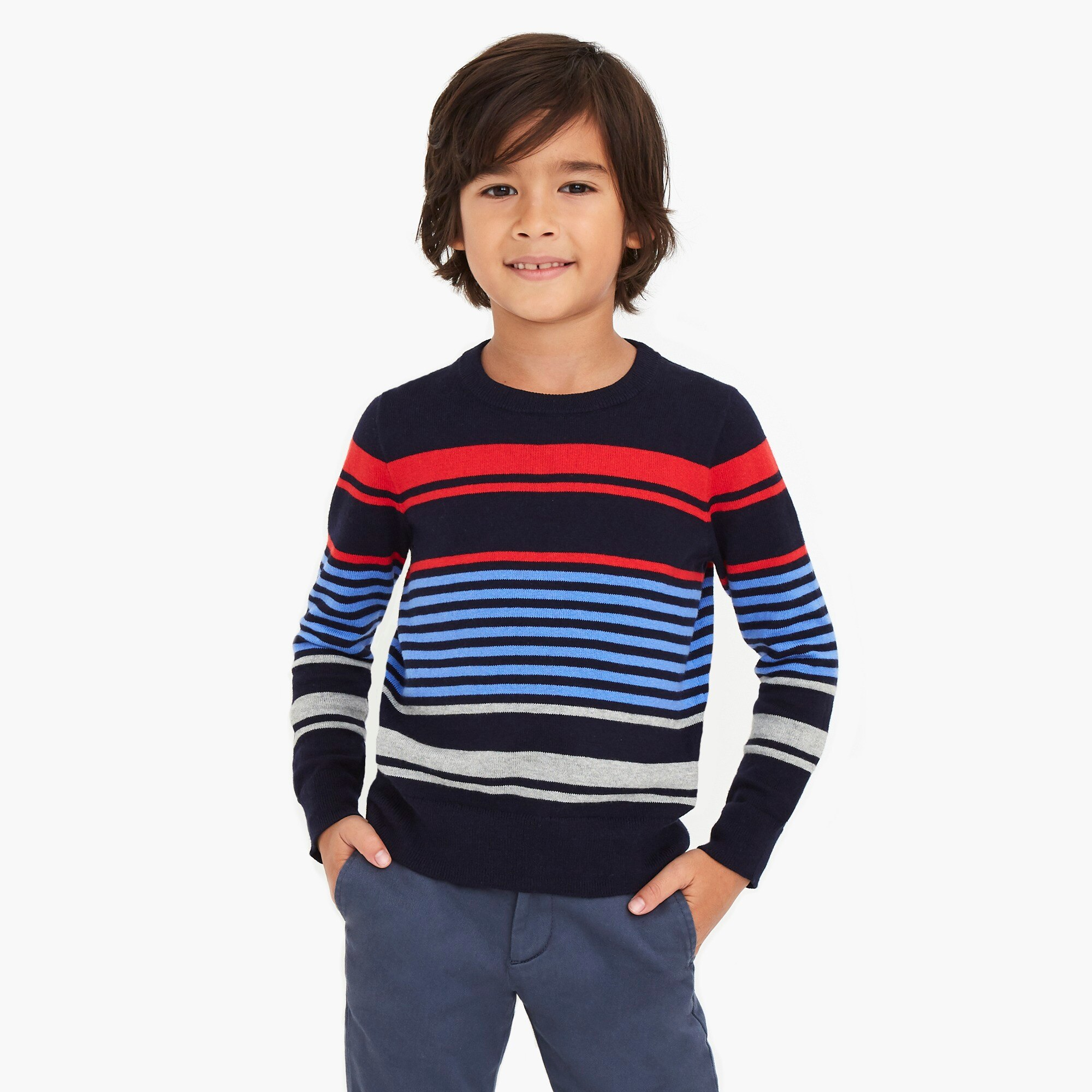 factory boys Boys' cotton mixed-stripe crewneck sweater