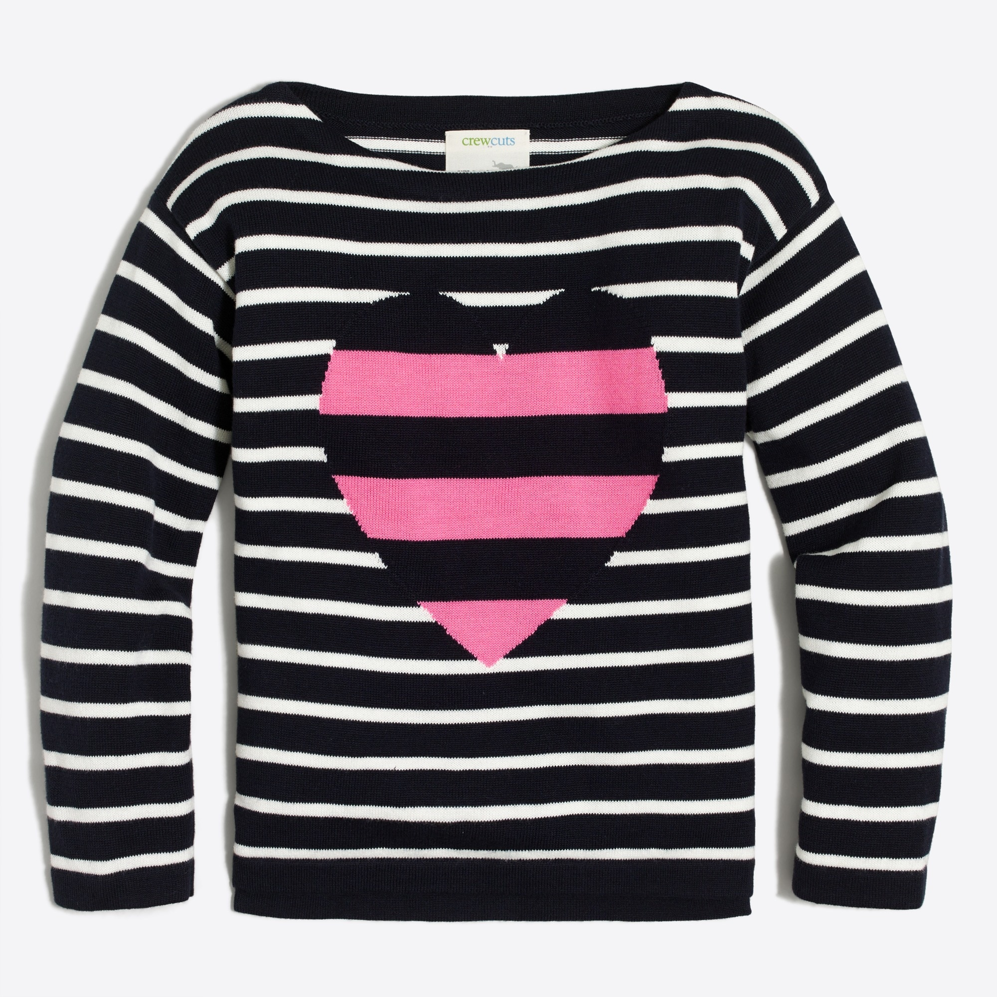 girls' striped heart popover sweater : factorygirls sweaters