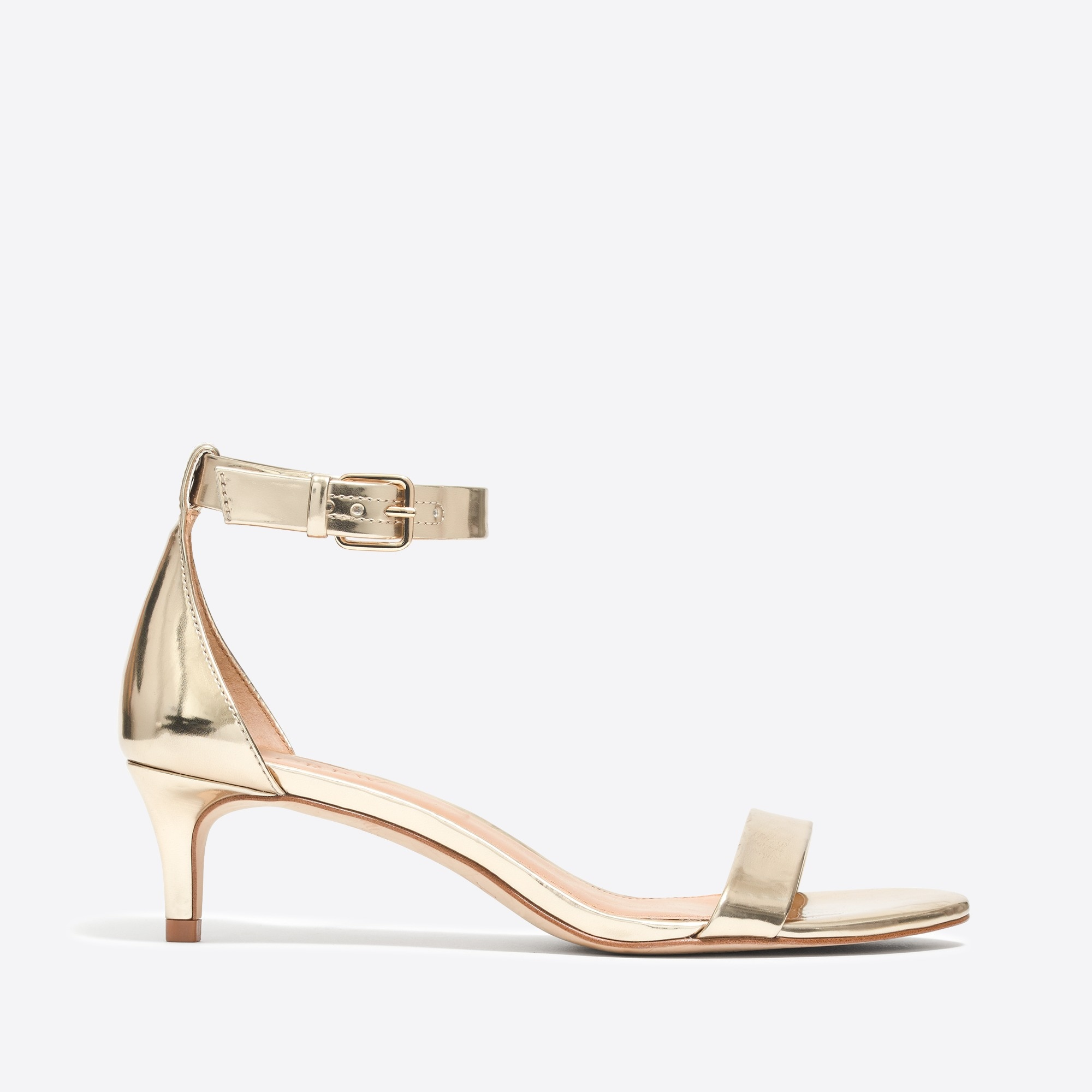 Metallic kitten-heel sandals