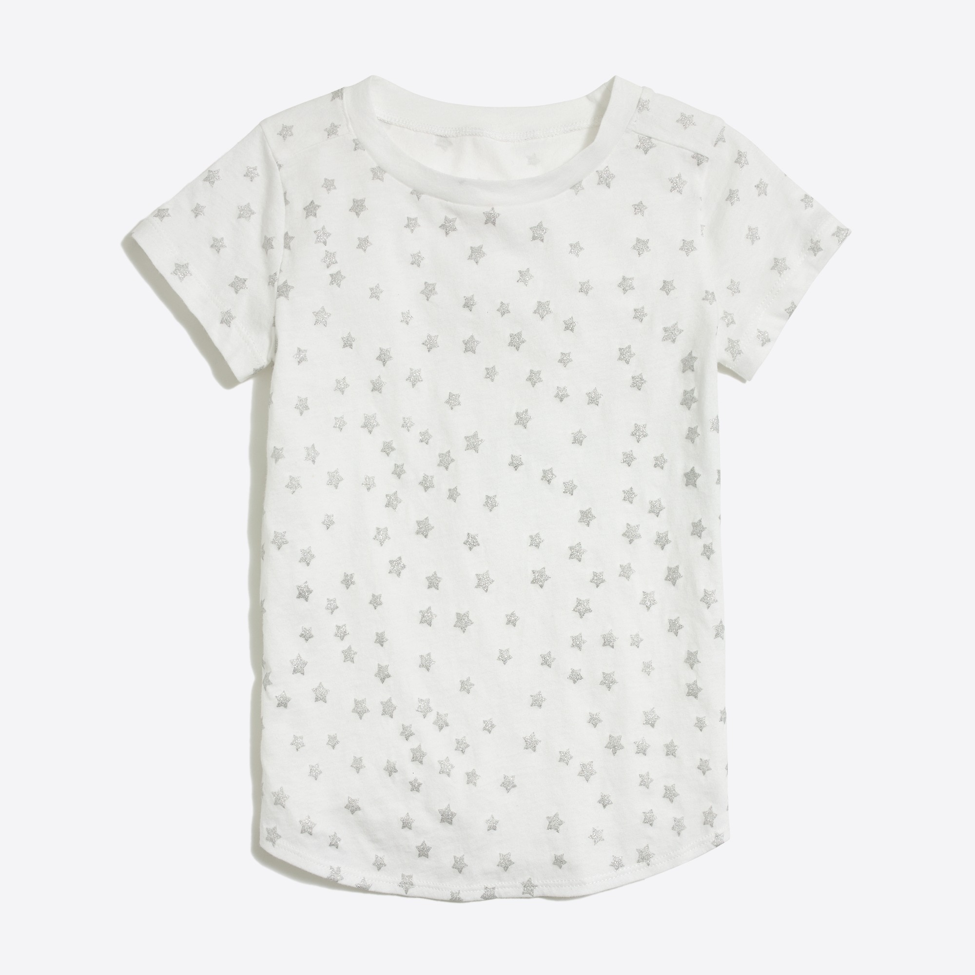 Girls' glitter stars shirttail-hem T-shirt