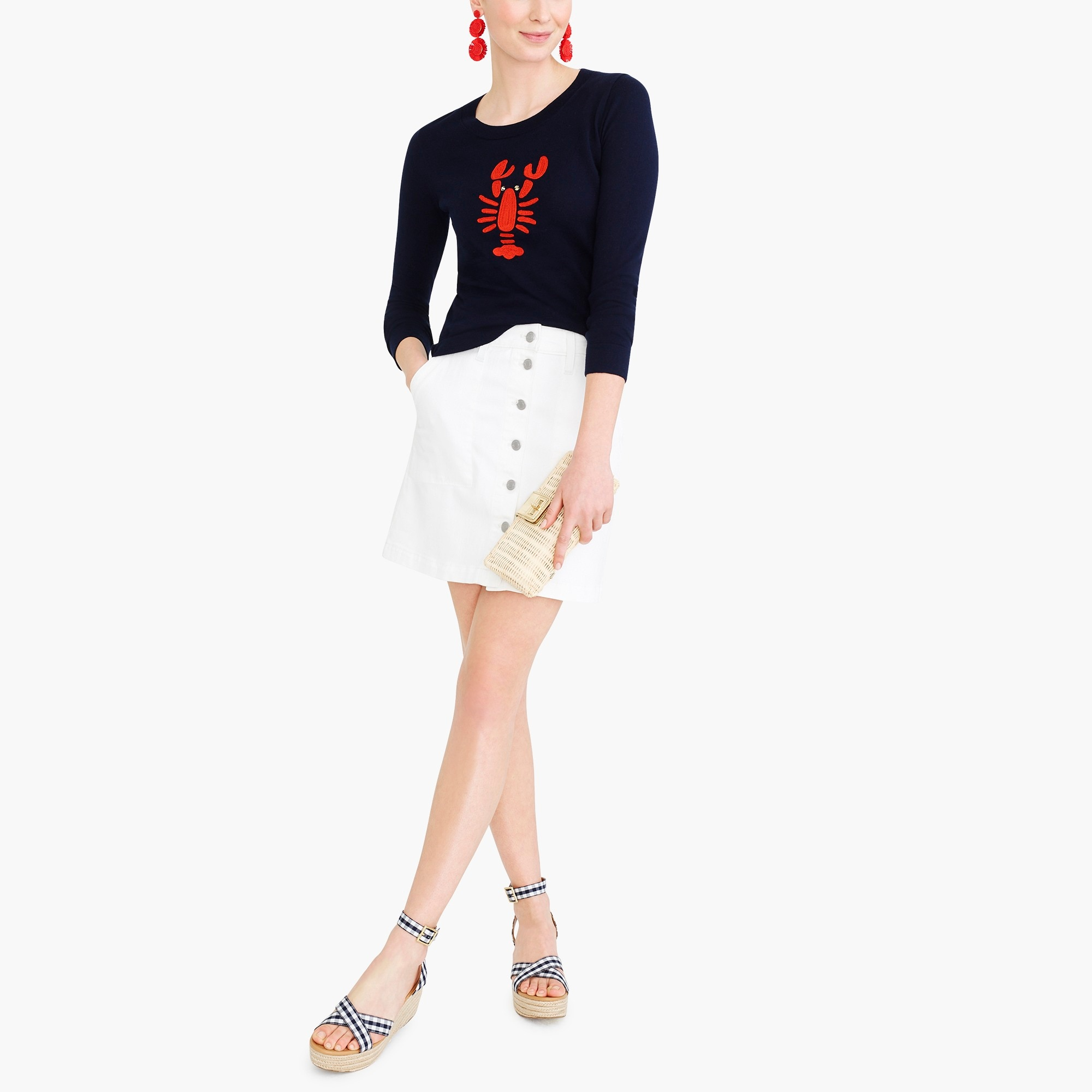 factory womens Embroidered lobster Teddie sweater