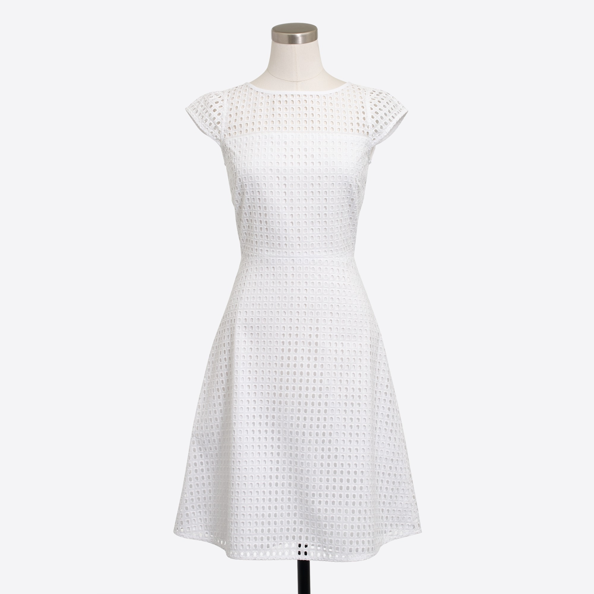Square-neck eyelet dress