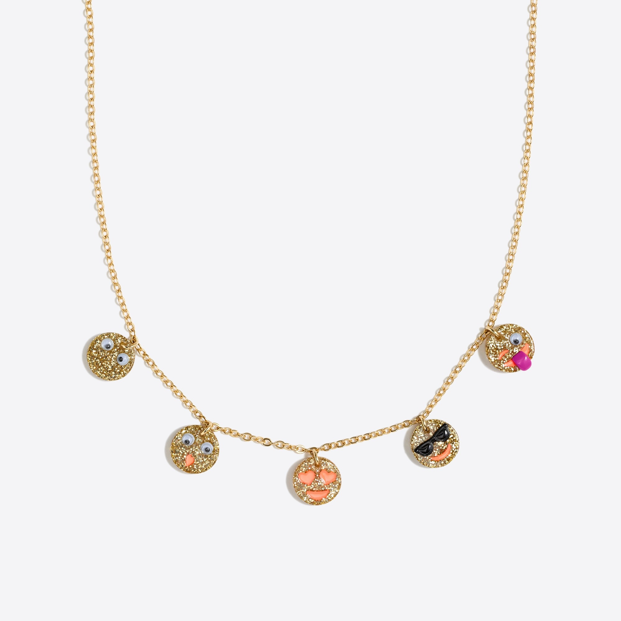 Image 1 for Girls' emoji charm necklace
