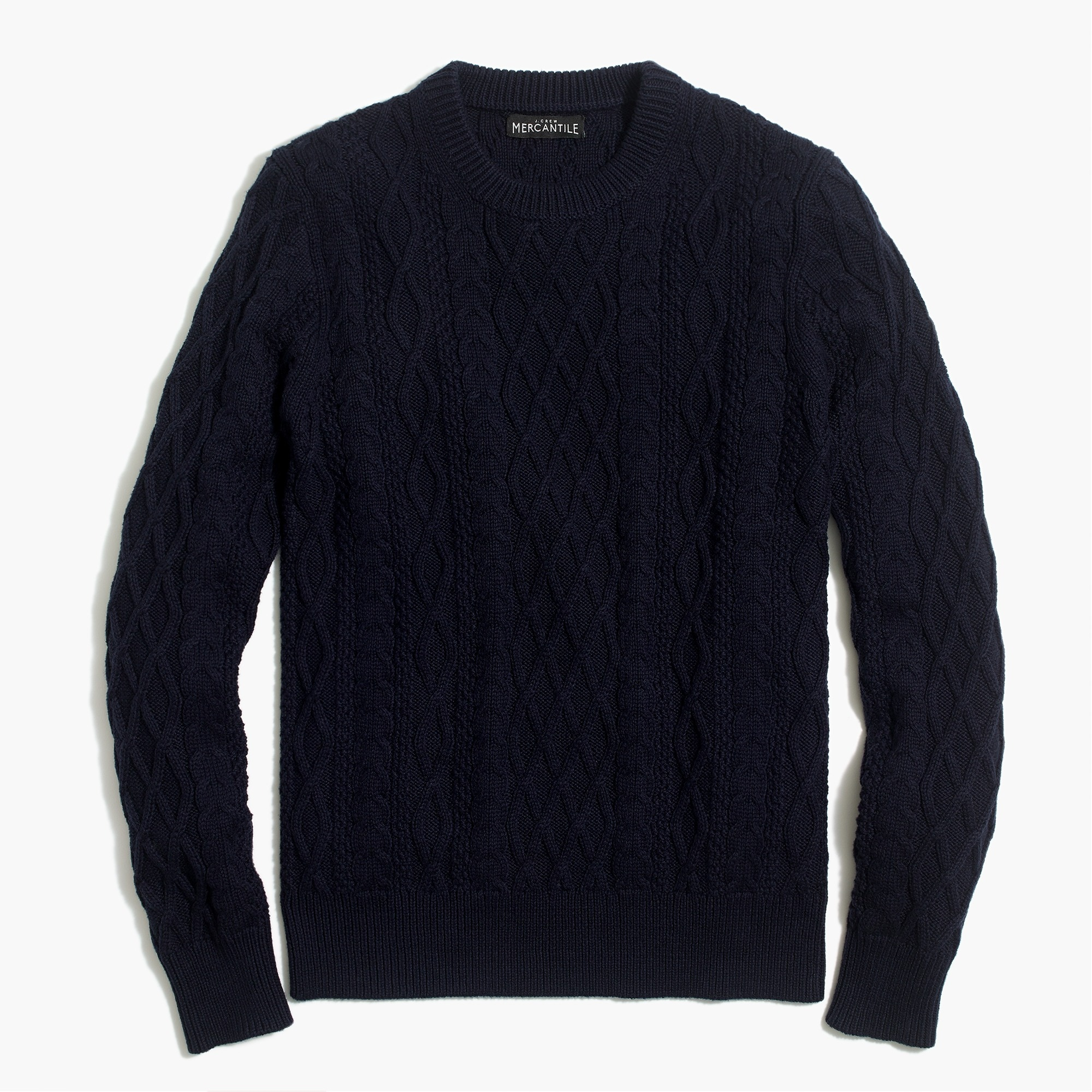 factory mens Fisherman cable crewneck sweater