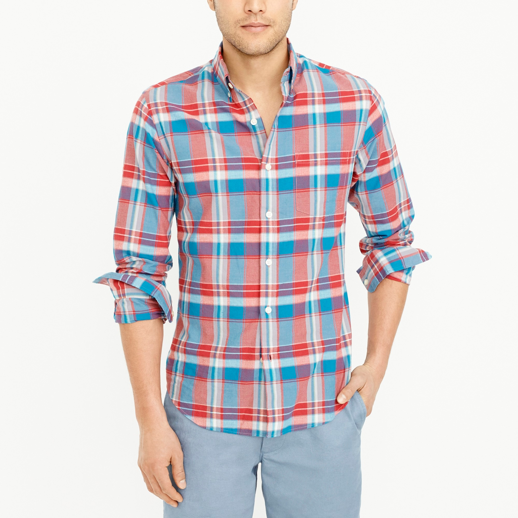 slim madras shirt : factorymen flex authentic washed