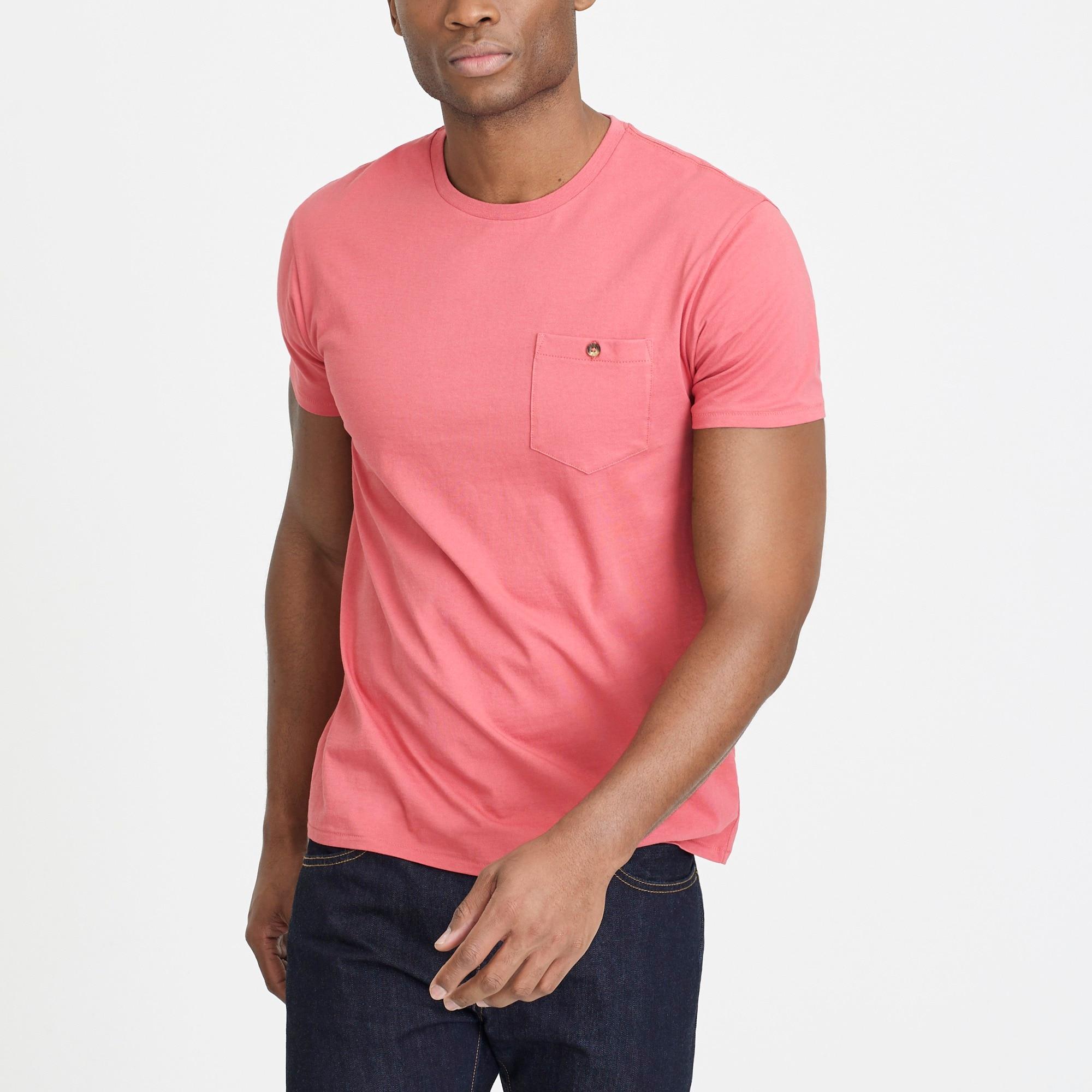 Slim washed button-pocket T-shirt
