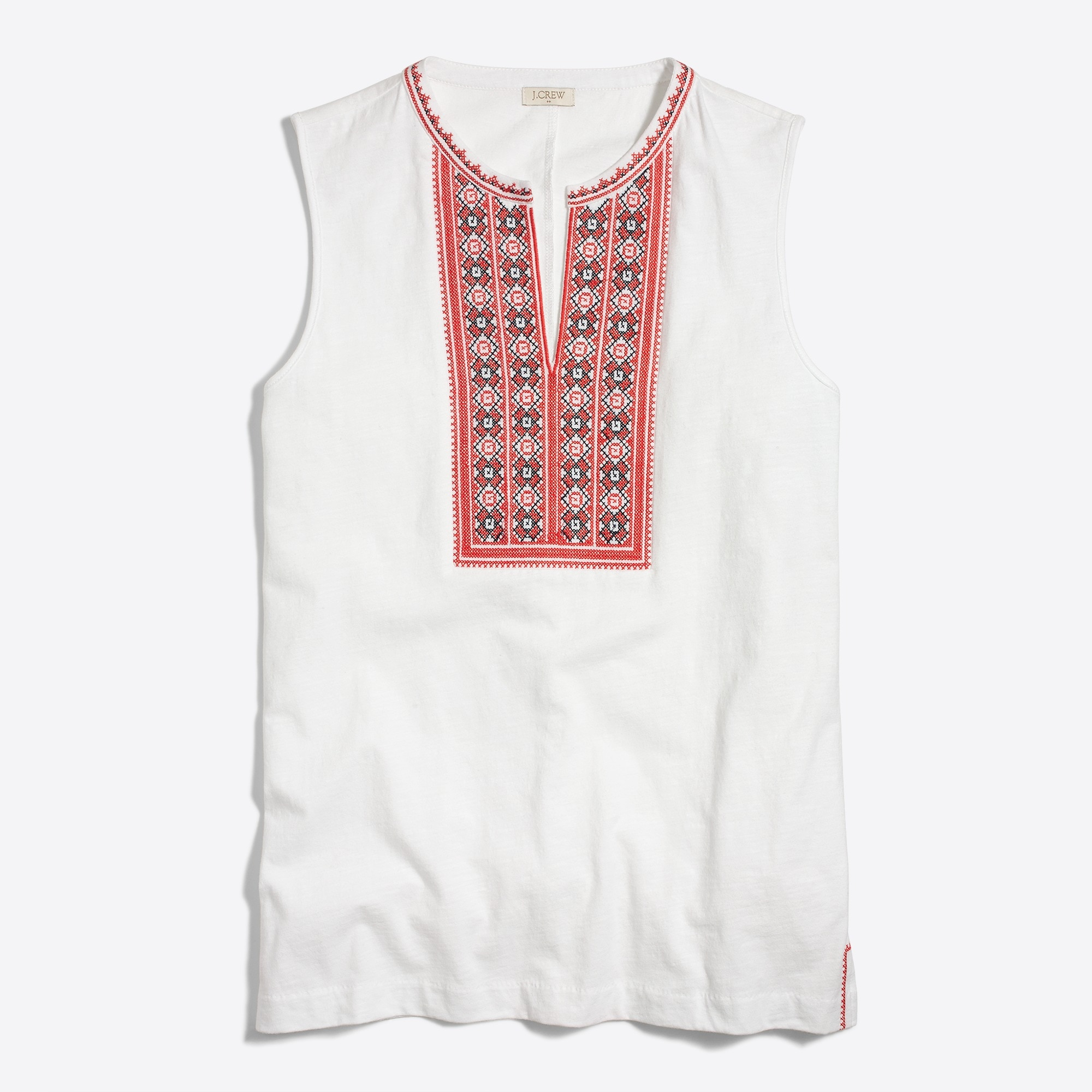 Embroidered placket tank top