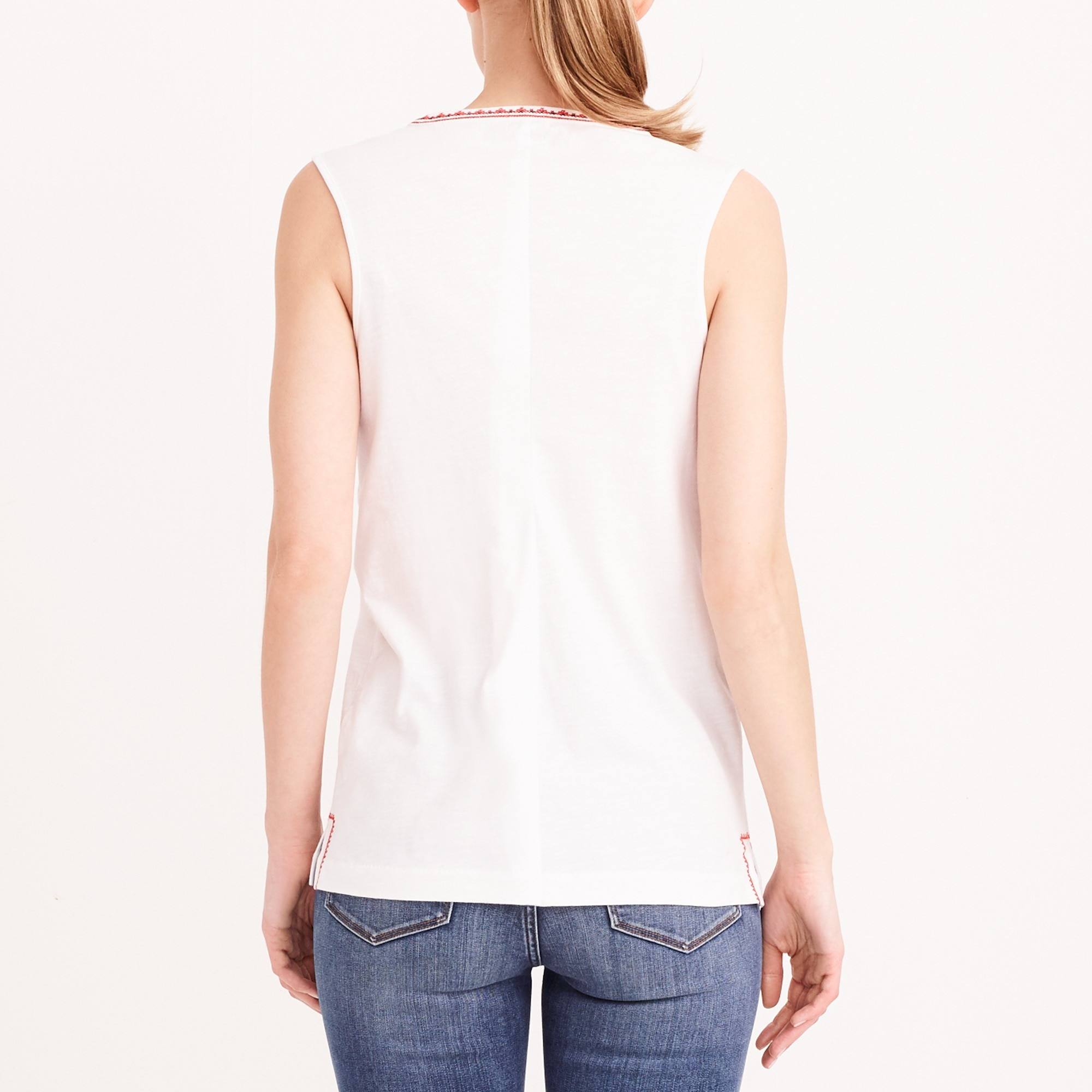 Image 3 for Embroidered placket tank top