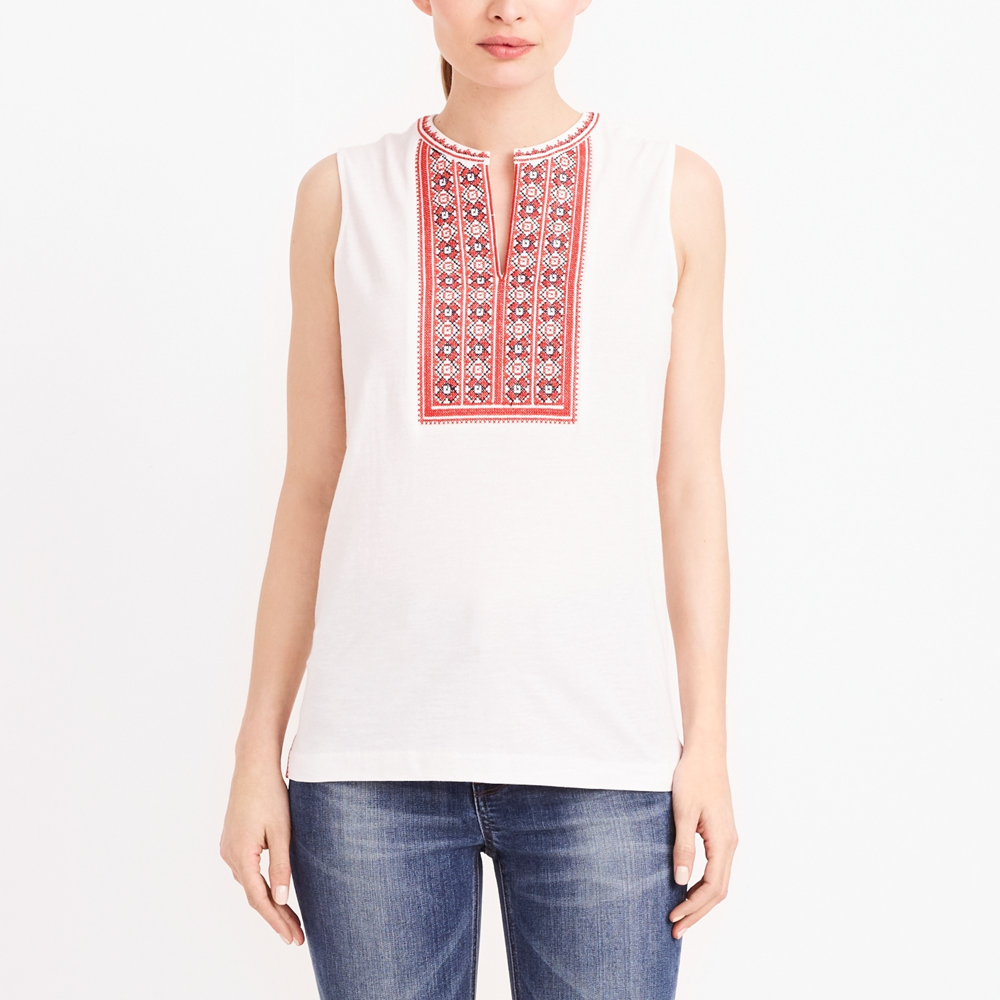 embroidered placket tank top : factorywomen sleeveless