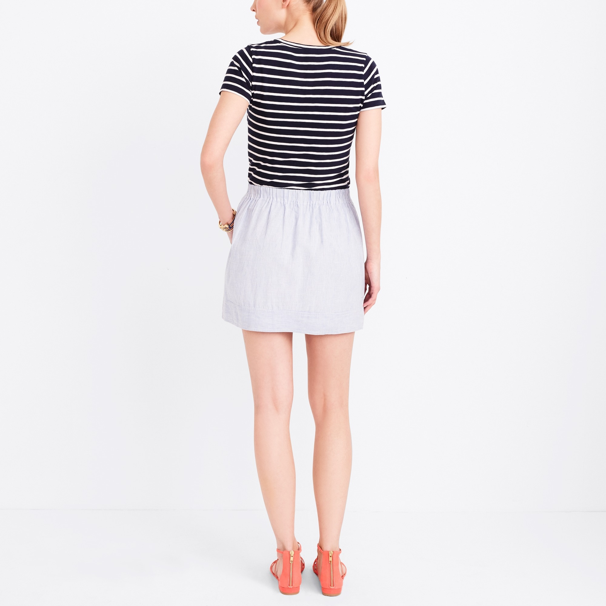 Image 3 for Striped linen-cotton skirt