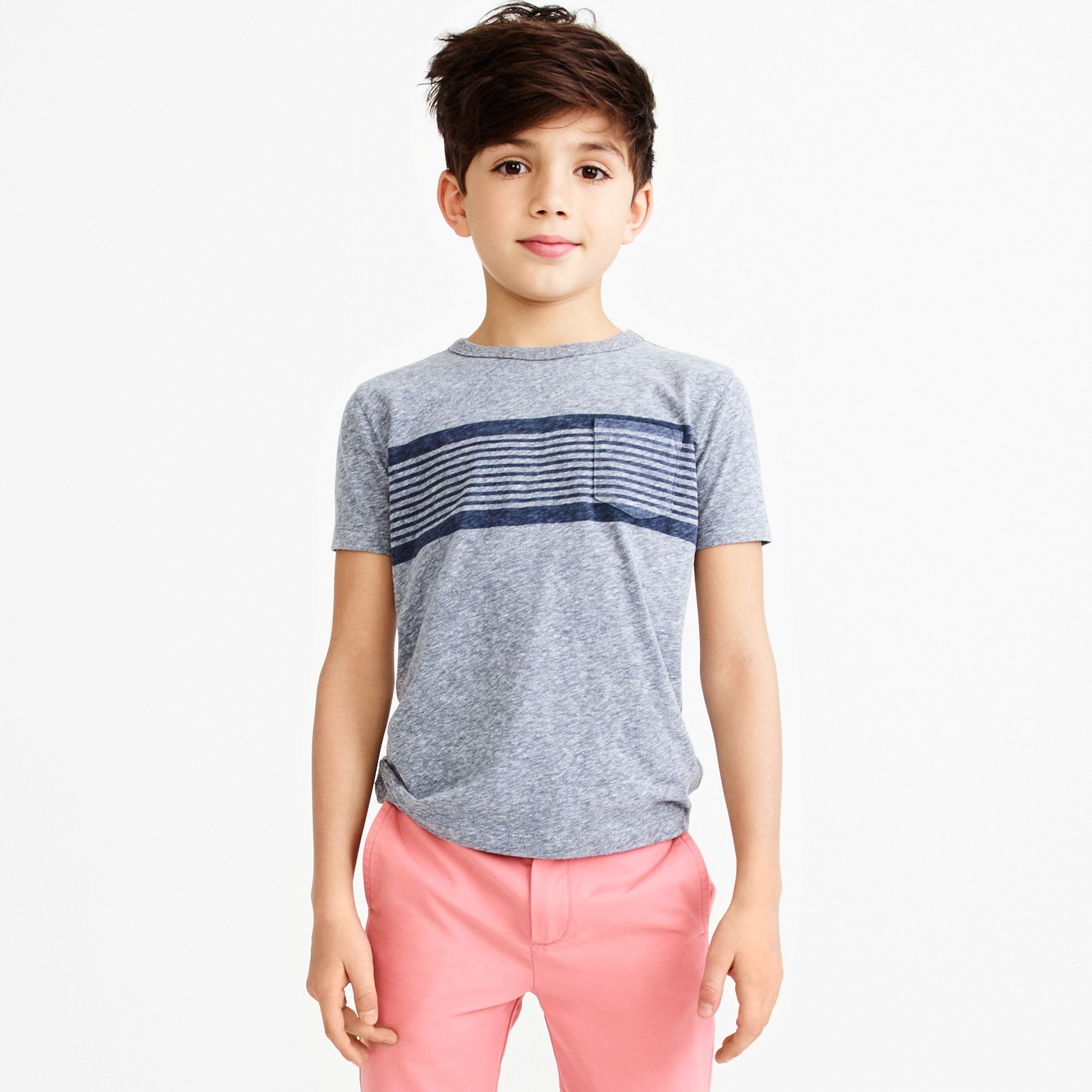 Boys' chest stripe jersey T-shirt factoryboys new arrivals c