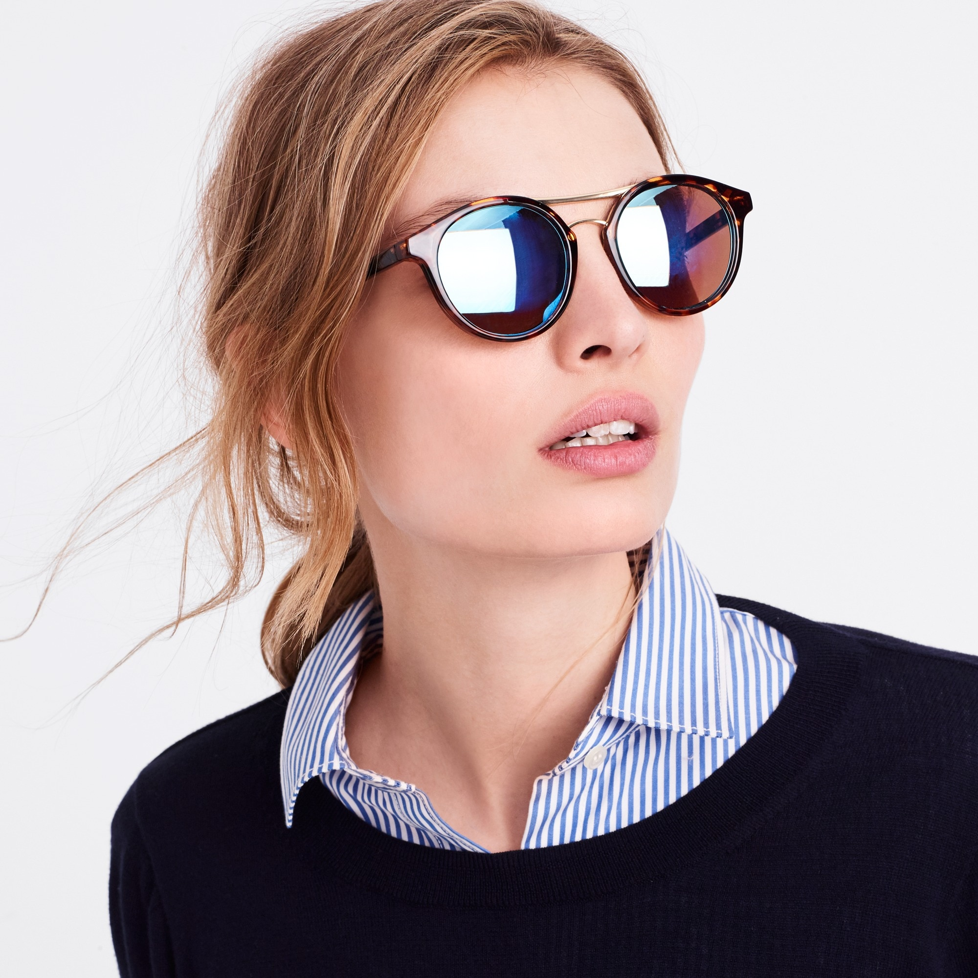 j.crew factory: round sunglasses with metal top bar