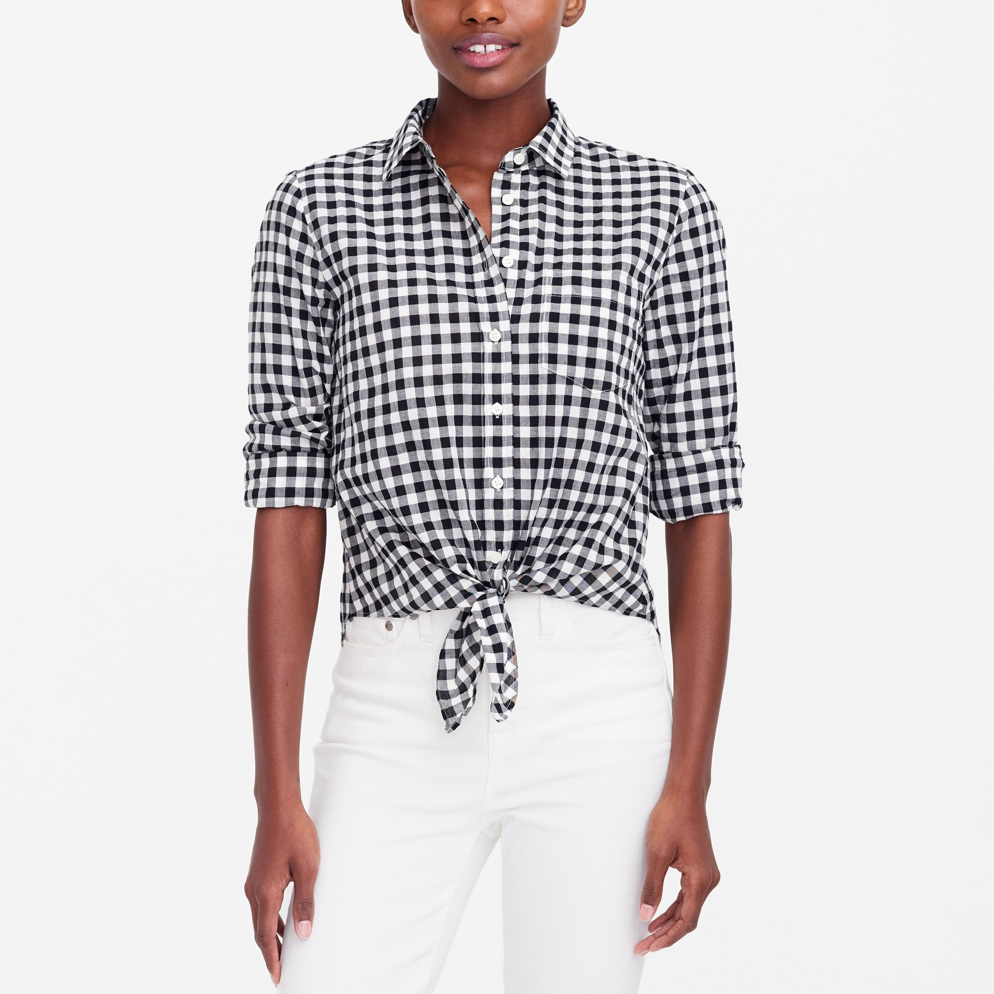 Image 1 for Printed tie-waist shirt