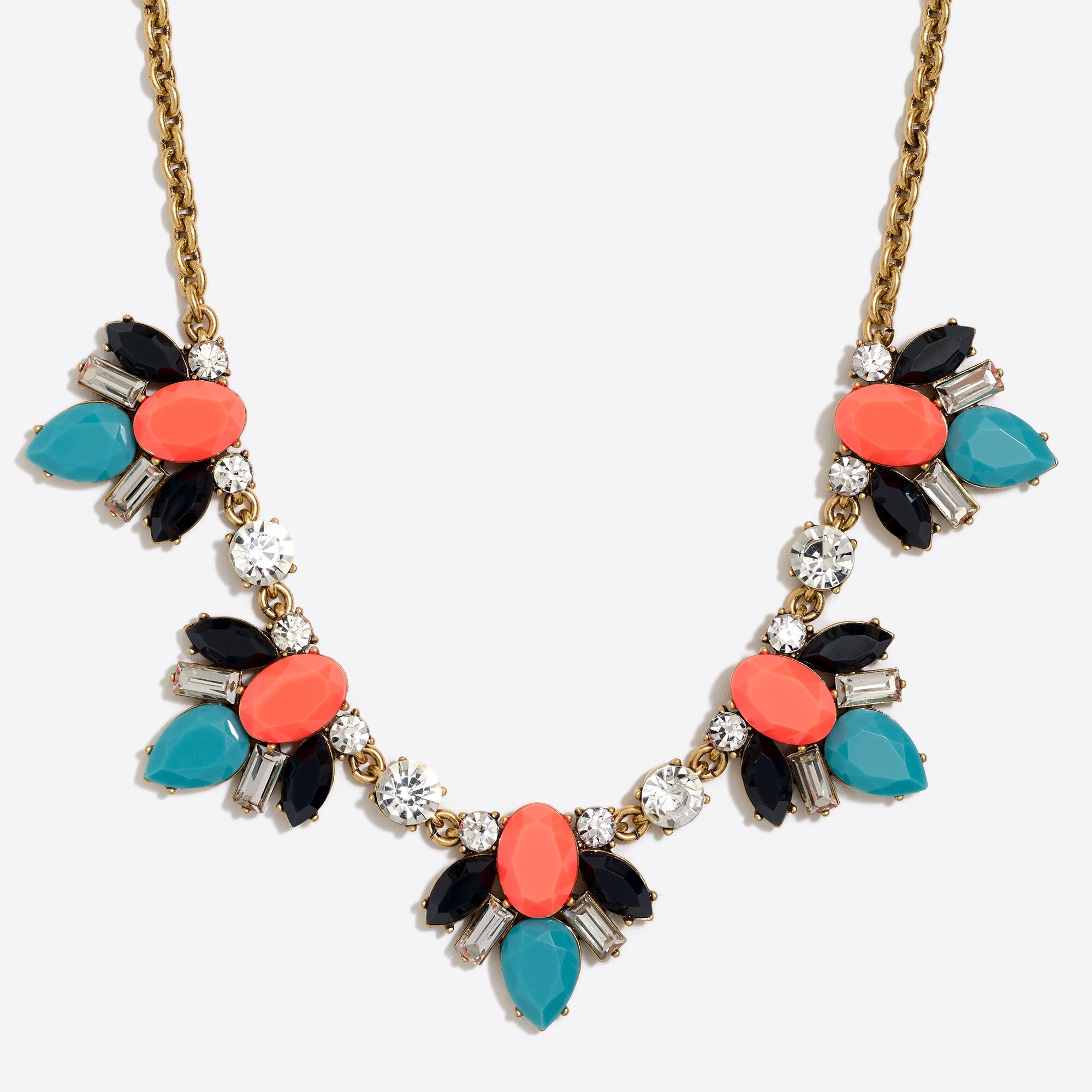 Gemstone cluster statement necklace