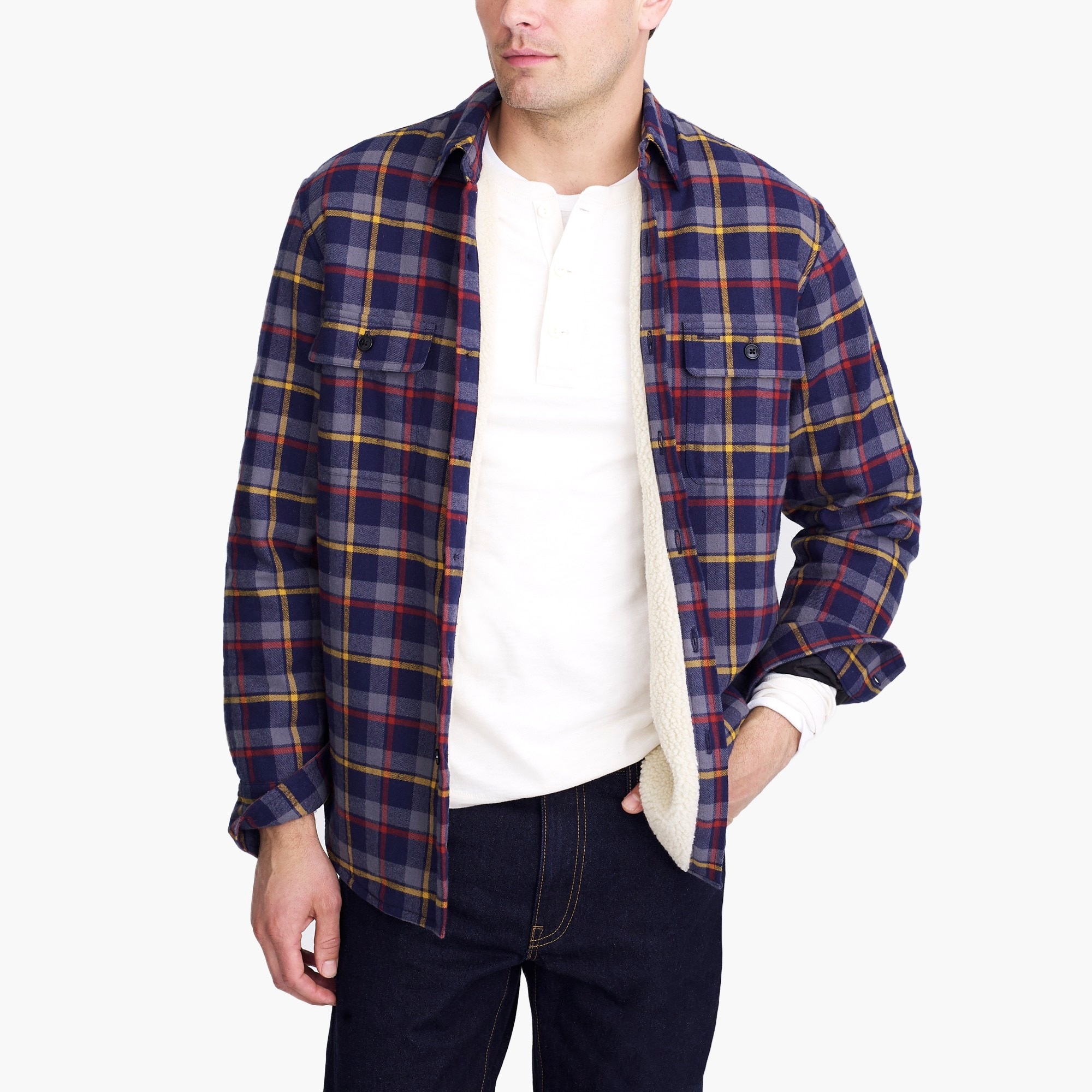 sherpa-lined flannel jacket : factorymen jackets