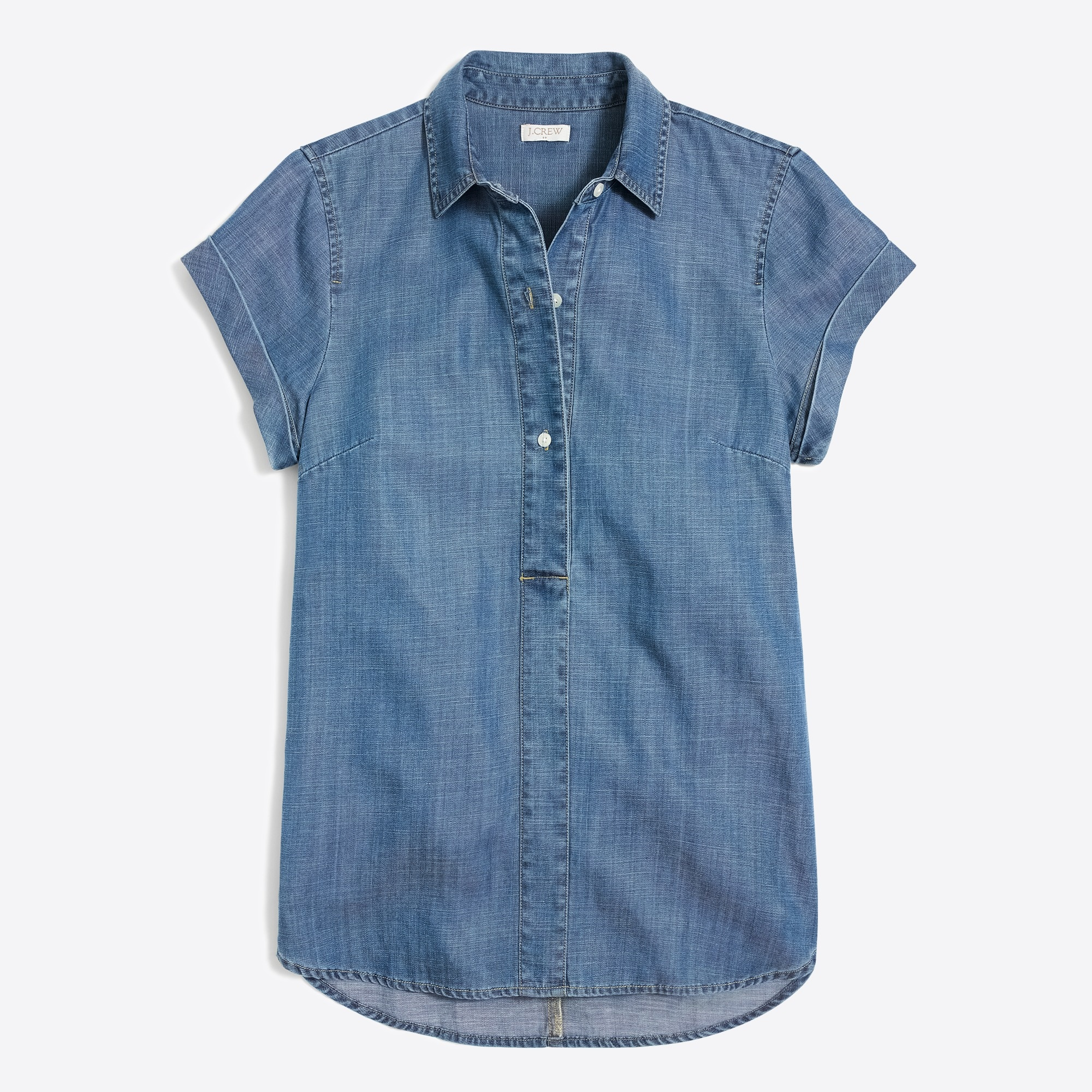Chambray short-sleeve popover