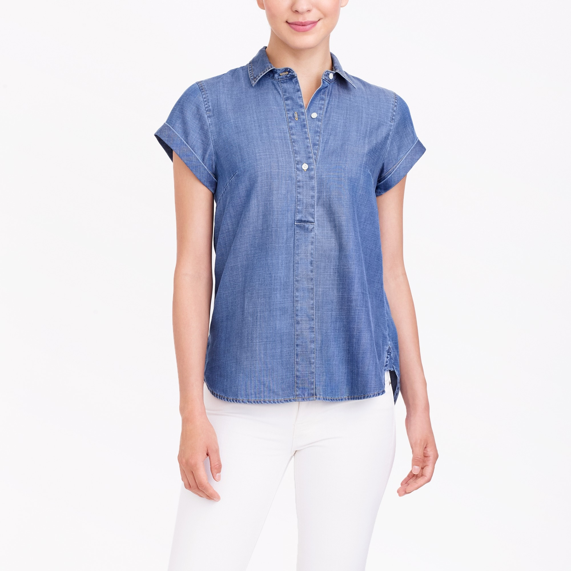 Image 1 for Chambray short-sleeve popover