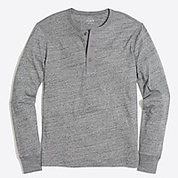 Image 1 for Tall long-sleeve heathered cotton henley