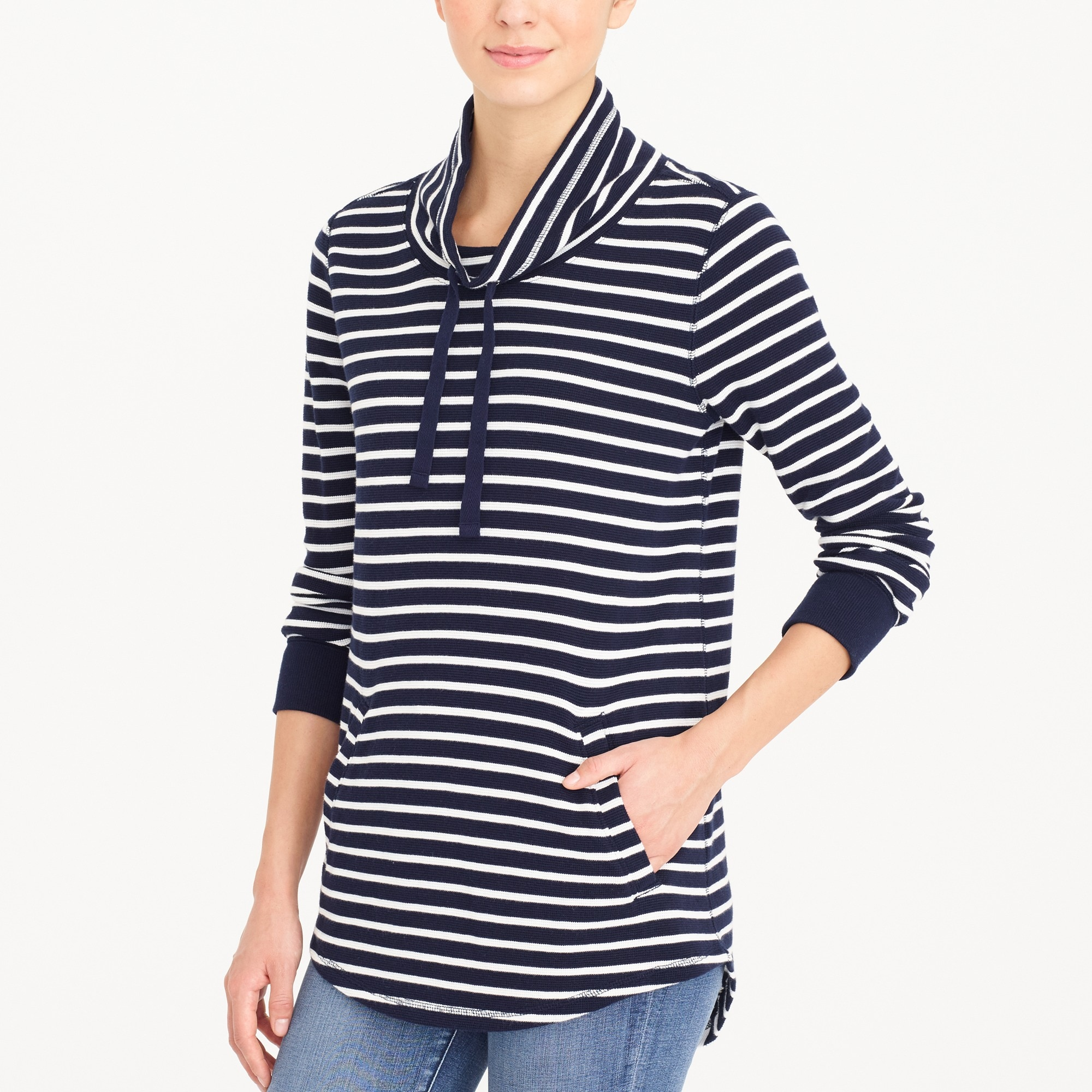 Image 1 for Striped waffle funnelneck sweatshirt