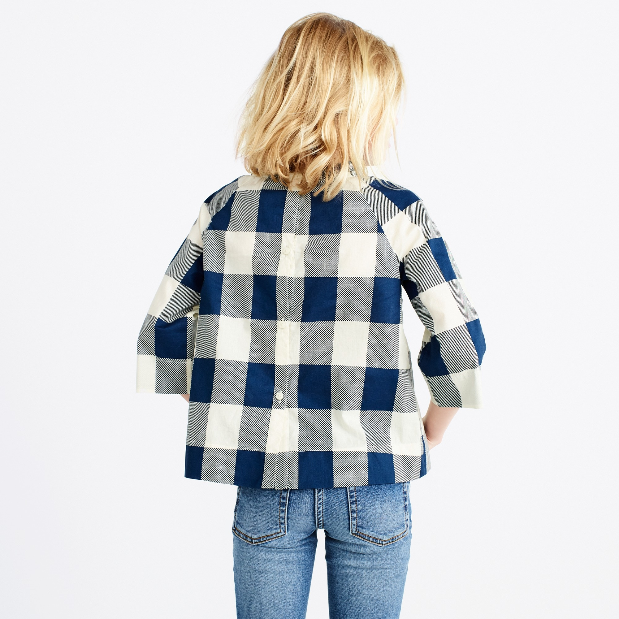 Image 3 for Girls' ruffle-neck top in gingham