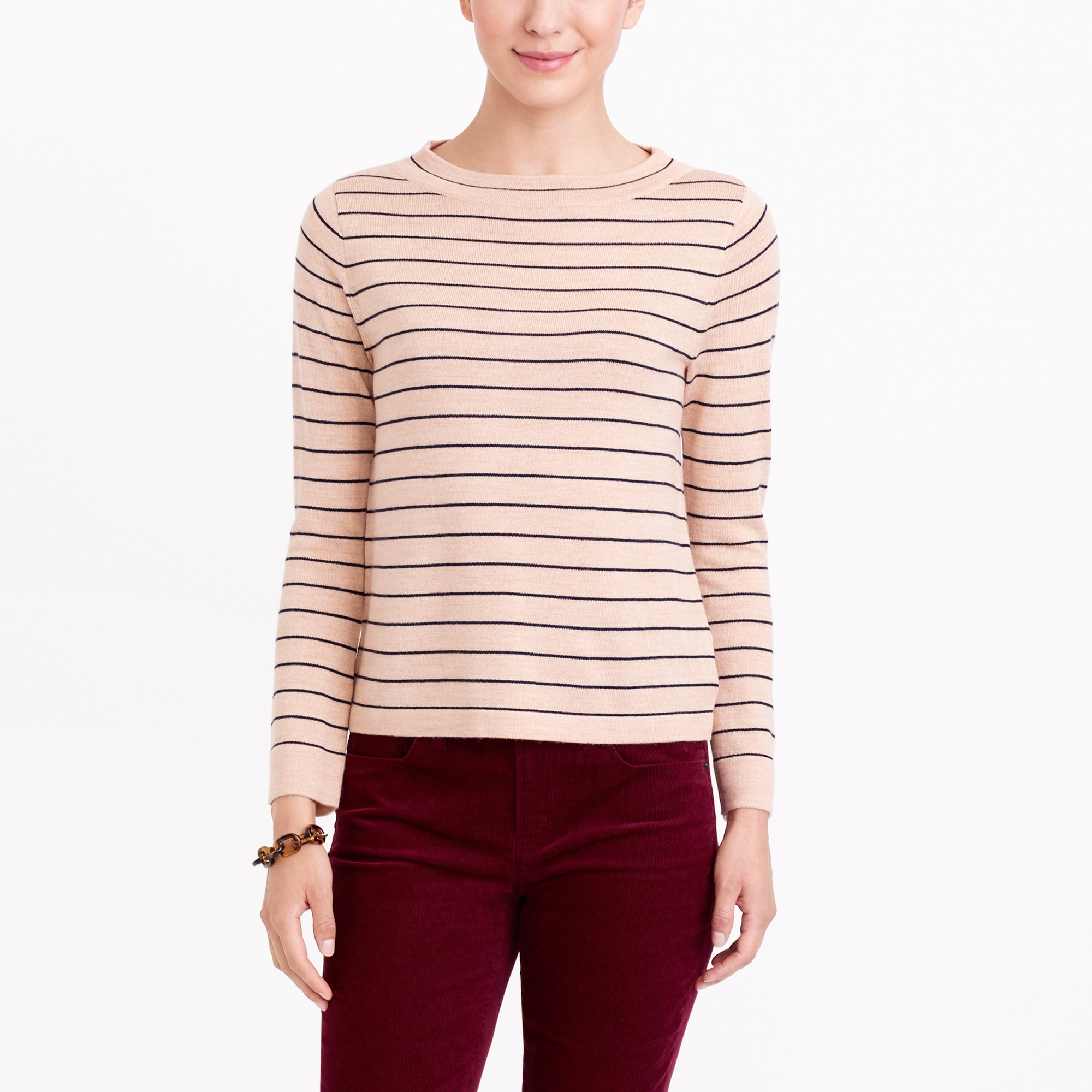 Striped funnelneck sweater
