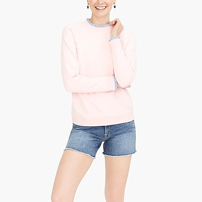 factory womens Woven ruffle-neck pullover