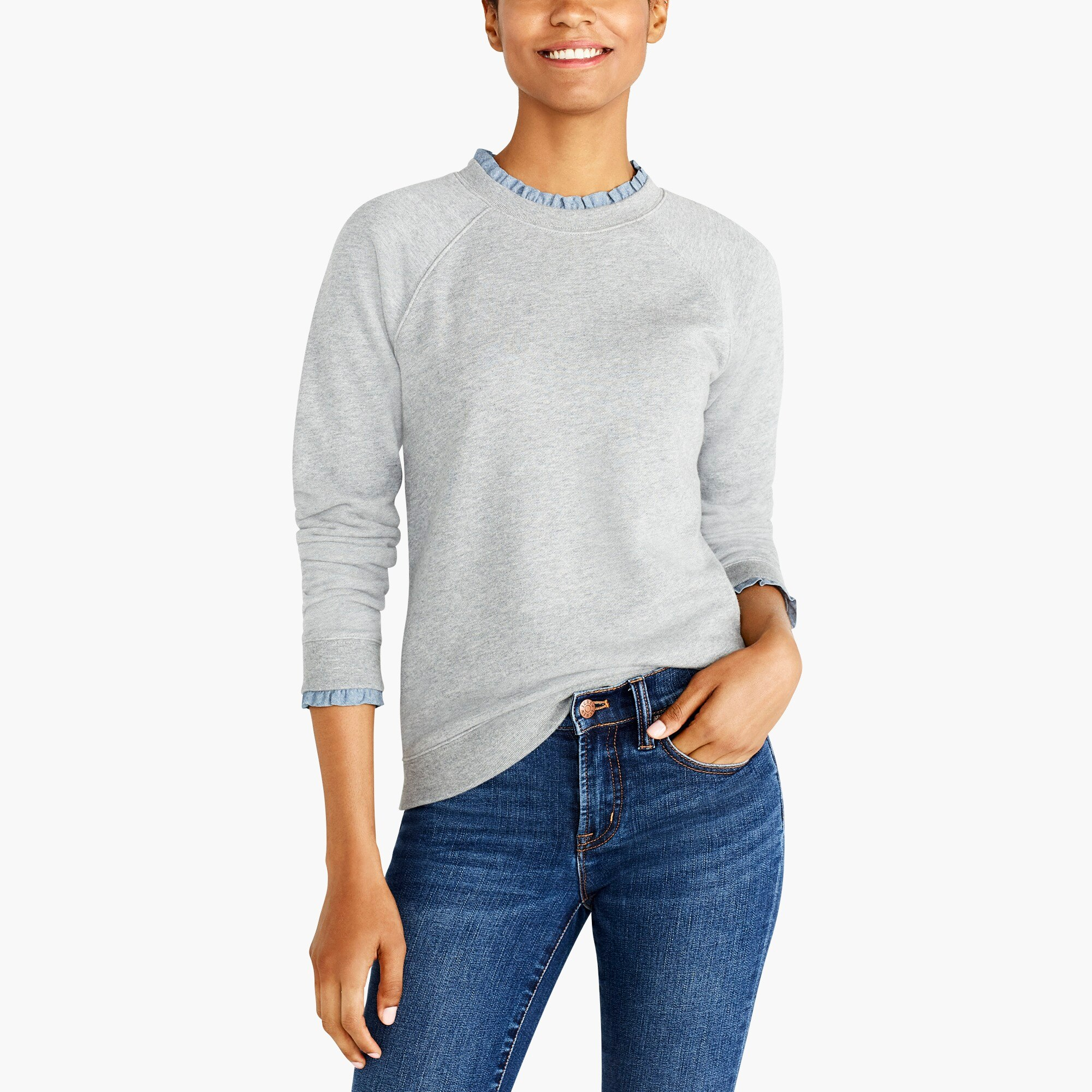 Image 1 for Woven ruffle-neck pullover