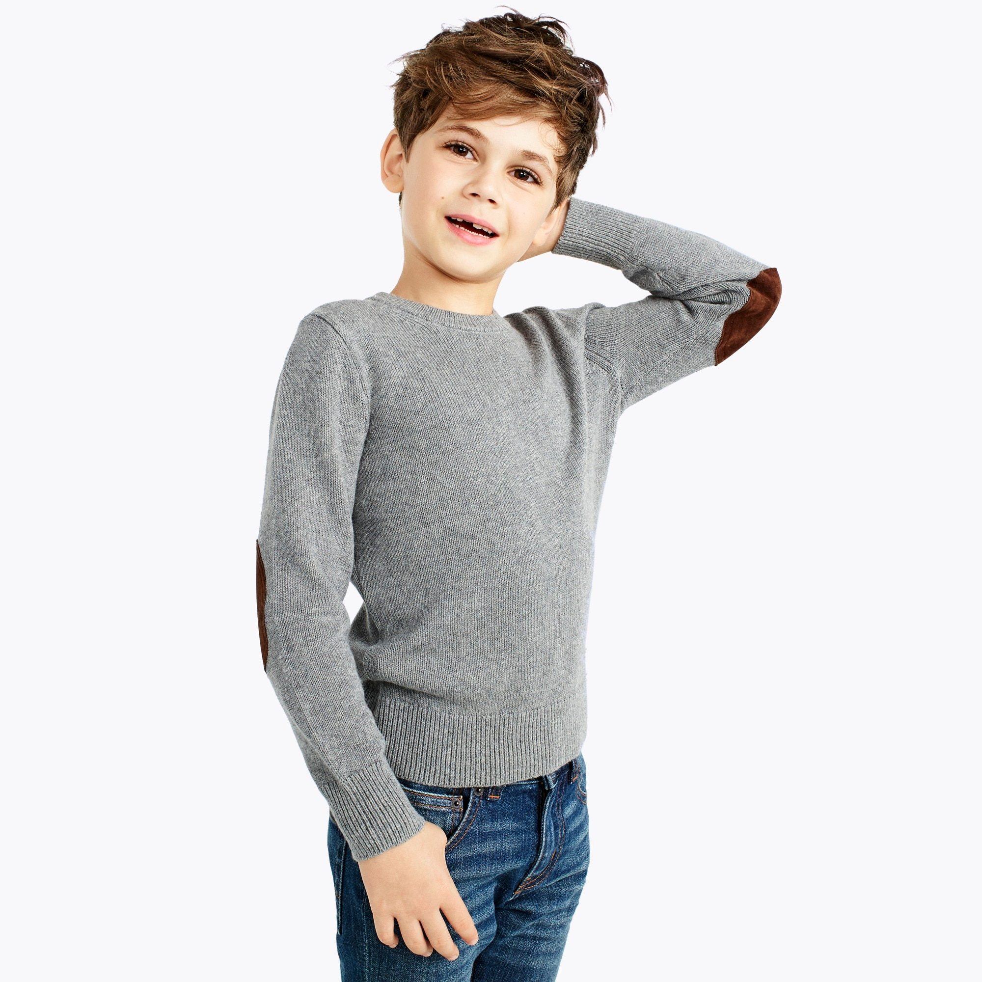 boys' elbow-patch crewneck sweater : factoryboys crewnecks