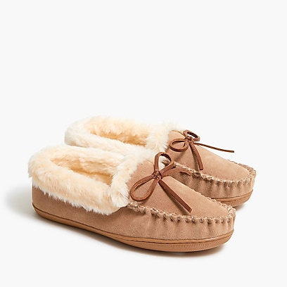 factory womens Suede shearling slippers