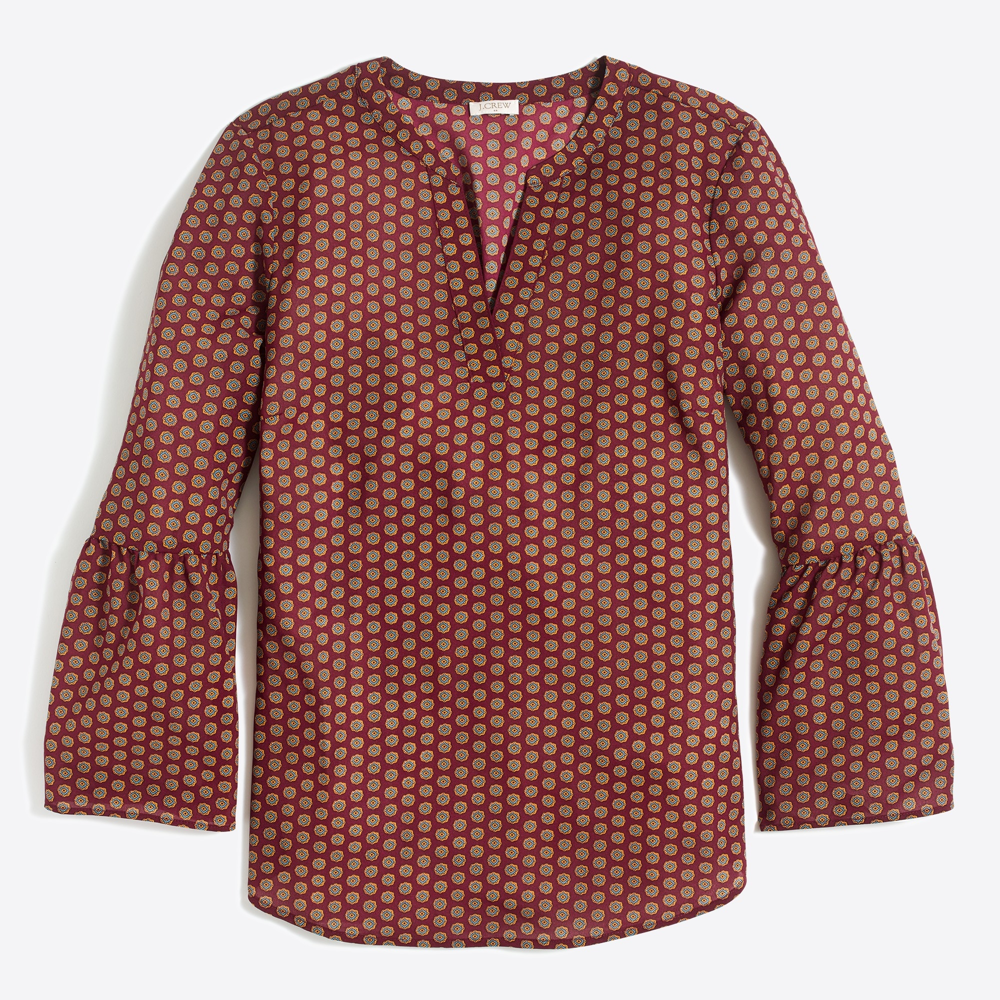 Image 1 for Petite printed bell-sleeve top