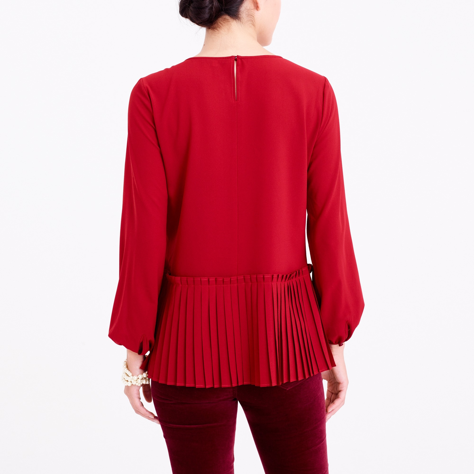 Image 3 for Long-sleeve pleated hem blouse