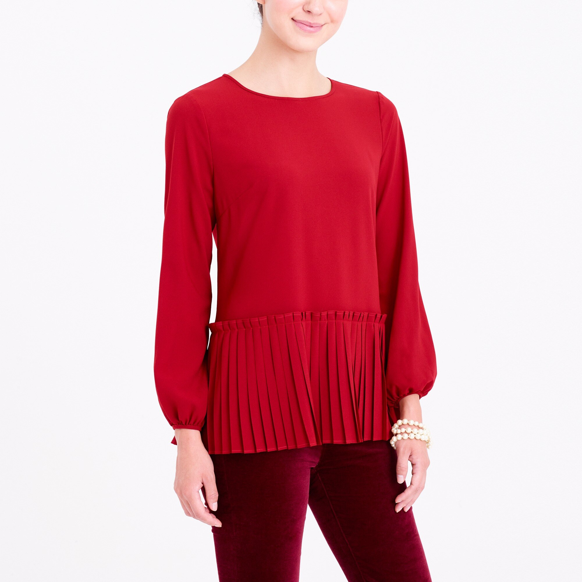 long-sleeve pleated hem blouse : factorywomen blouses & tops