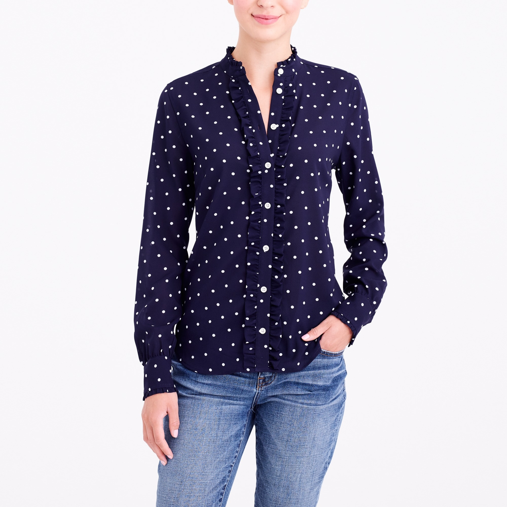 ruffle-front polka-dot blouse : factorywomen long sleeve blouses