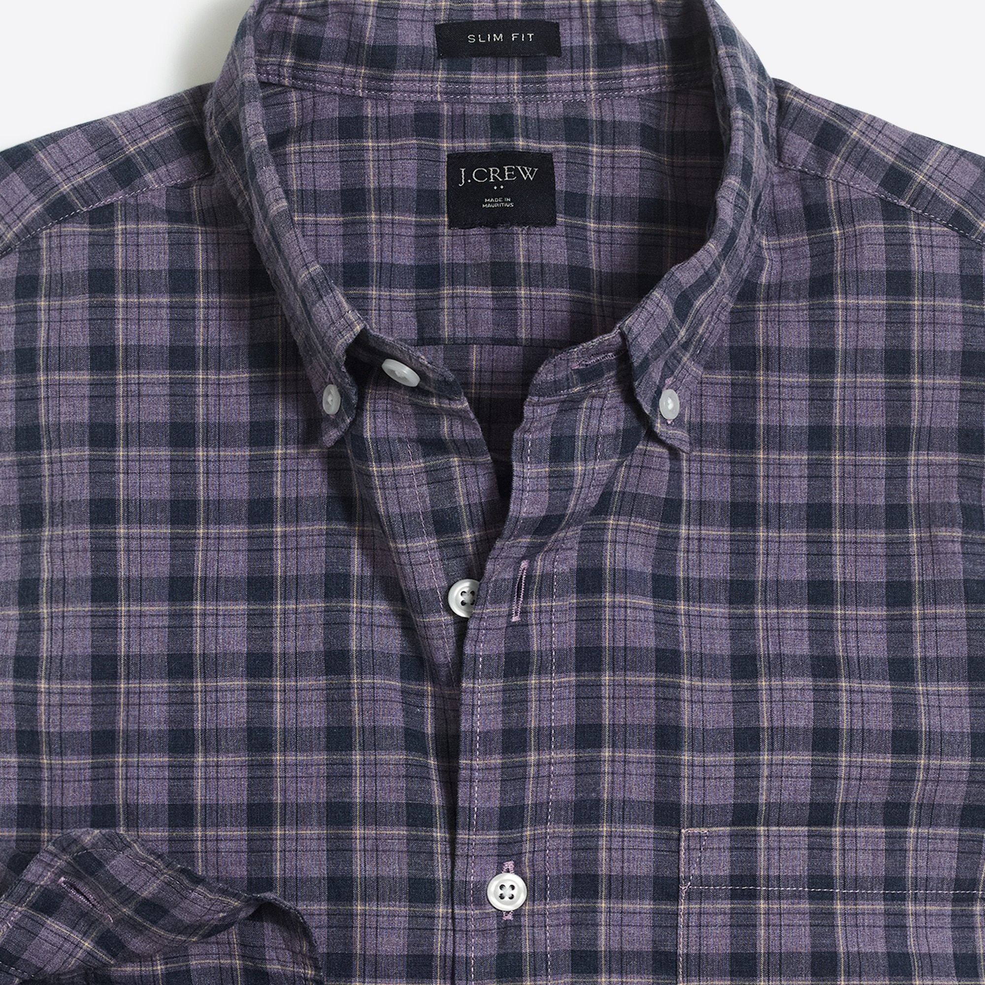 Image 2 for Slim heather washed plaid shirt