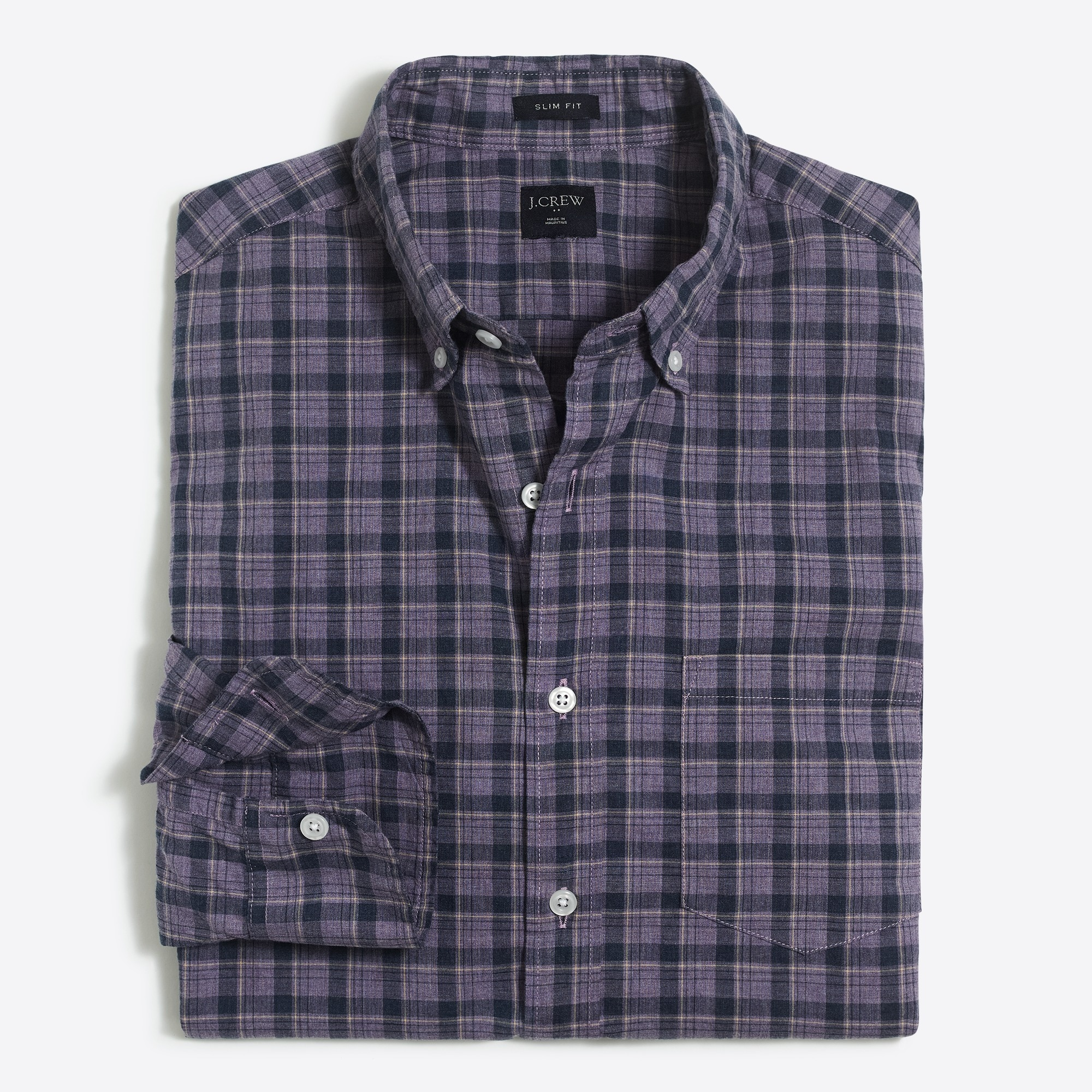 Slim heather washed plaid shirt