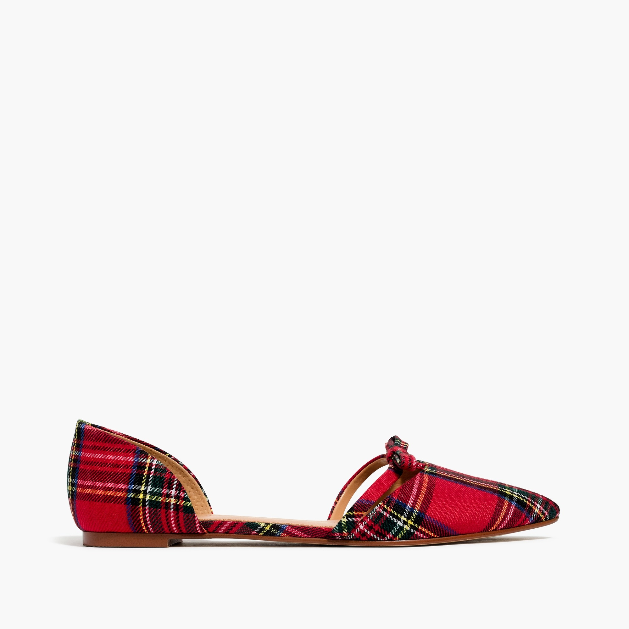 Tartan plaid d'orsay flat with bow