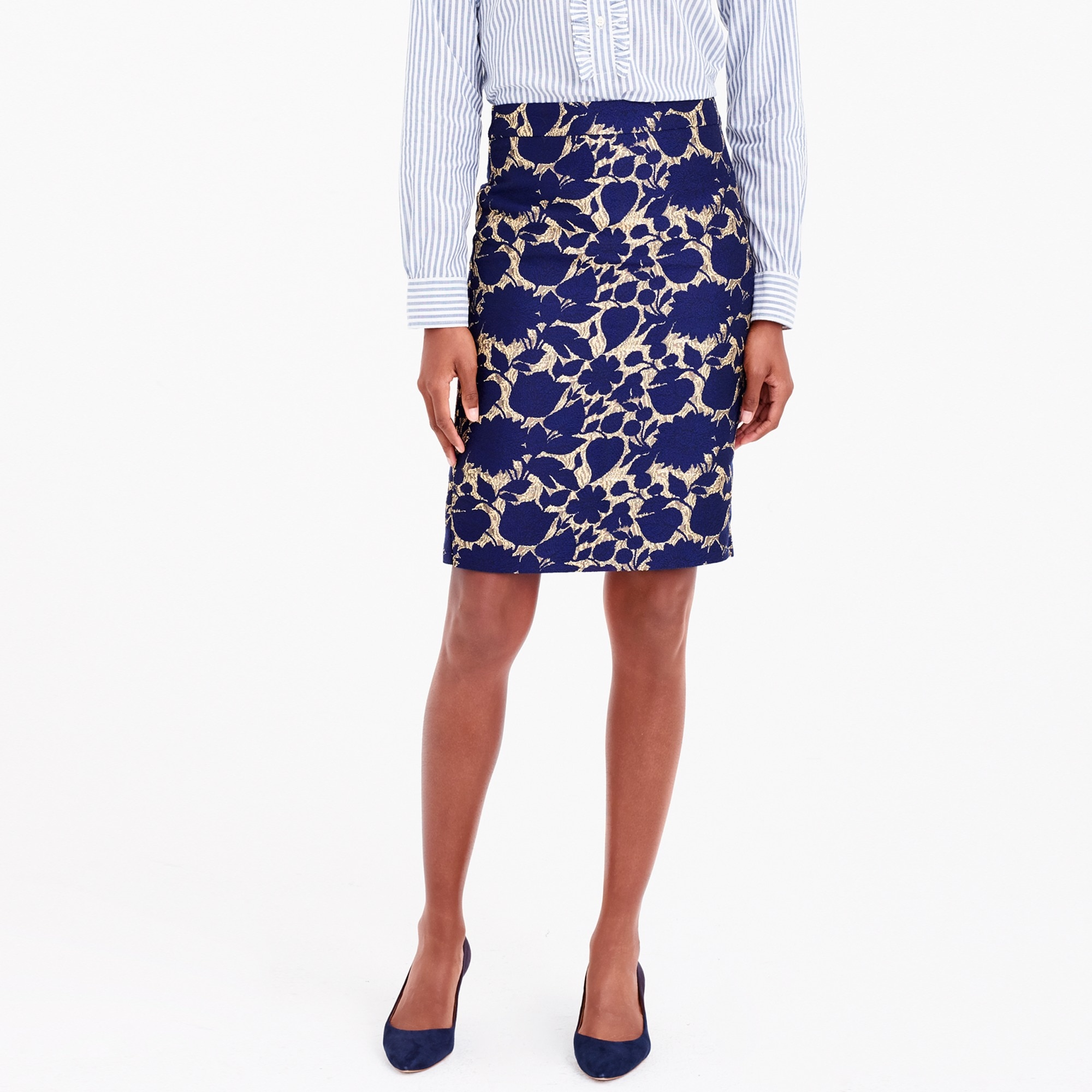 Image 1 for Metallic jacquard pencil skirt