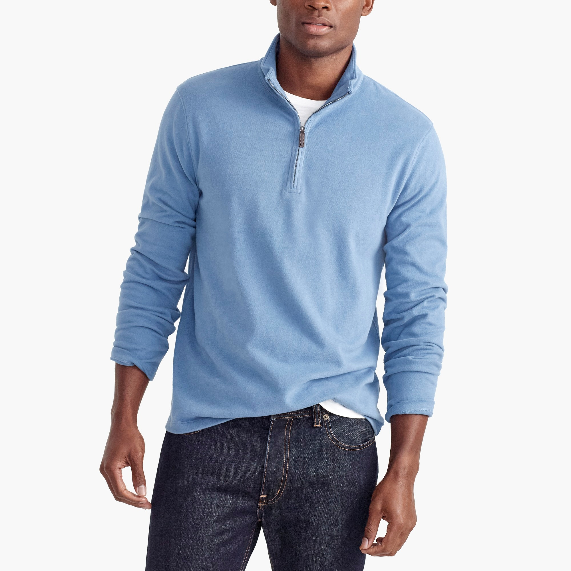 sueded cotton jersey half-zip pullover : factorymen third pieces
