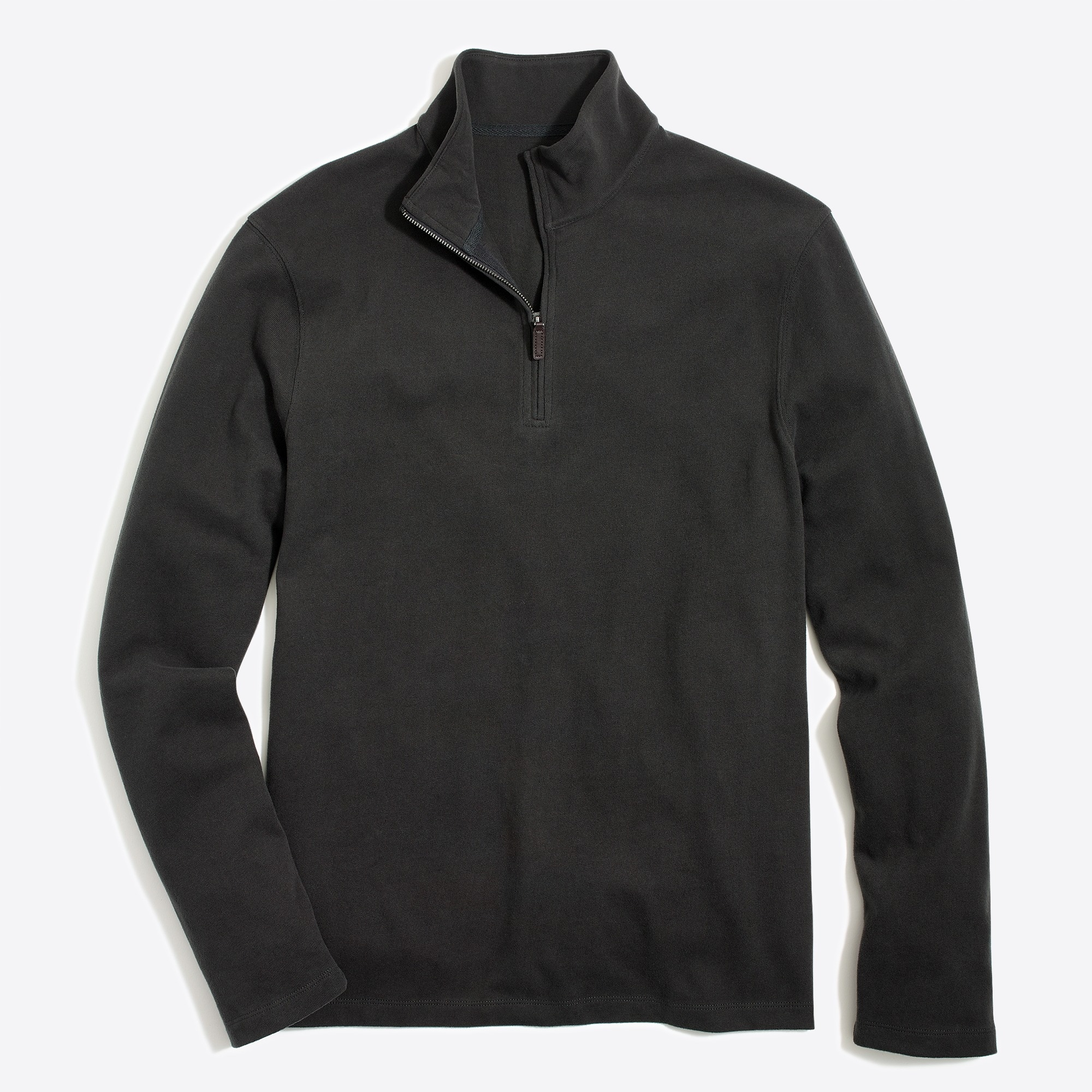 factory mens Sueded cotton jersey half-zip pullover