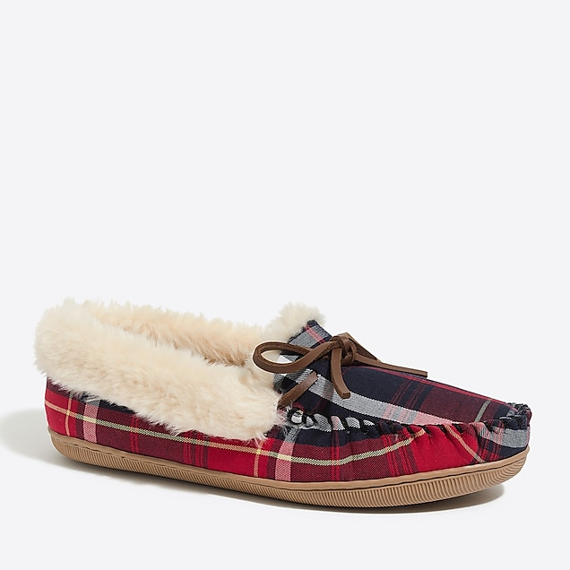 tartan plaid shearling slippers : factorywomen slippers