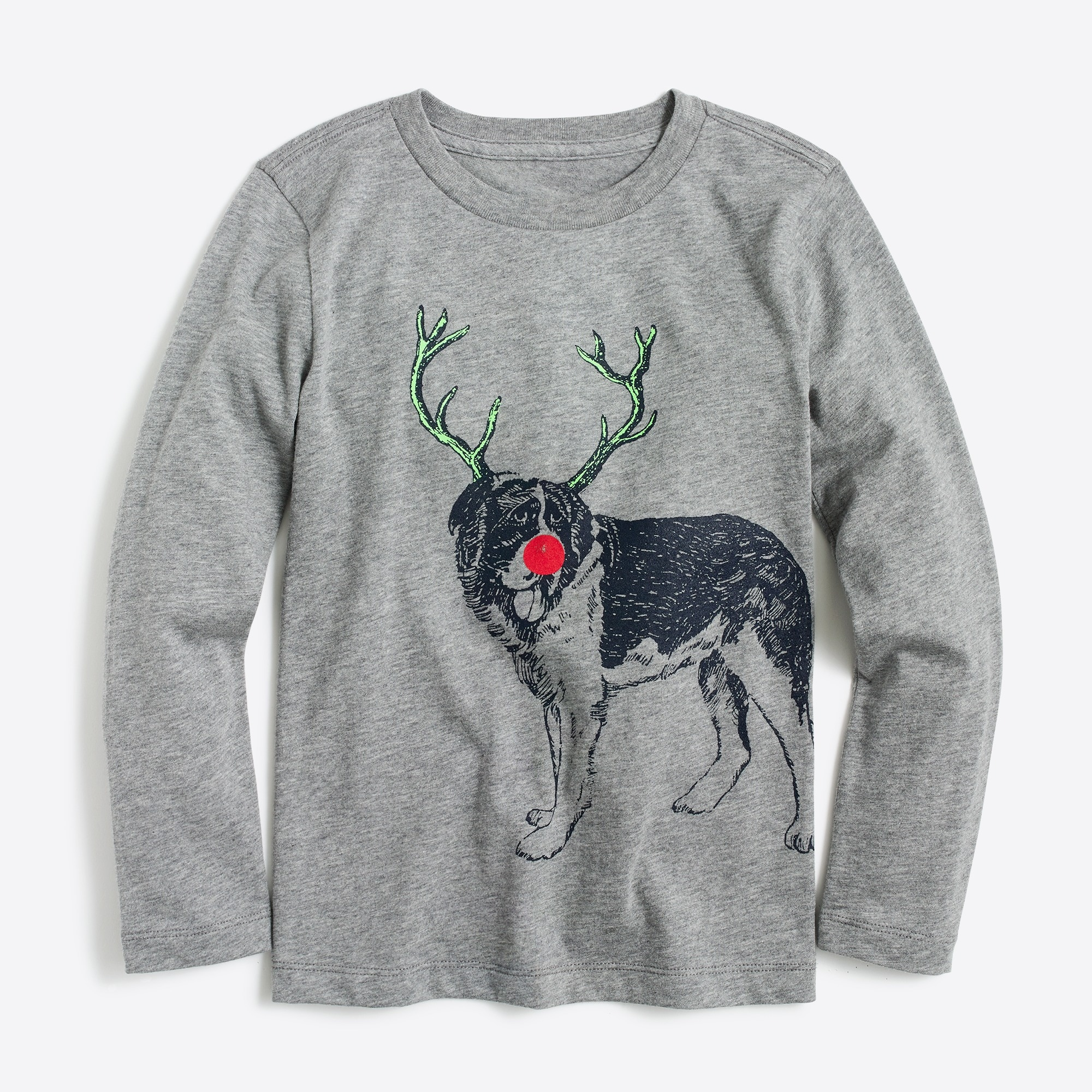 Boys' long-sleeve dog with antlers graphic T-shirt