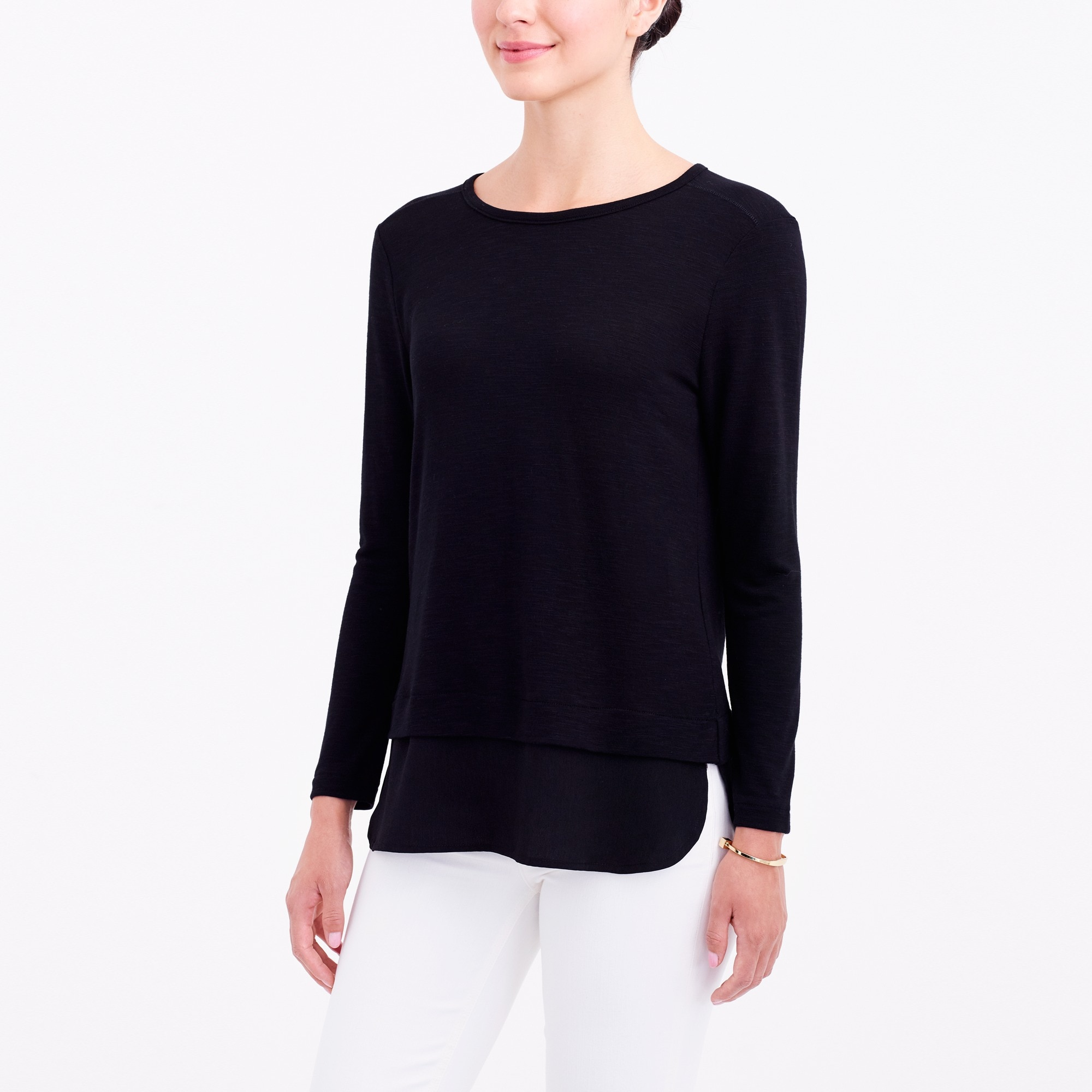 factory womens Long-sleeve top with silky hem