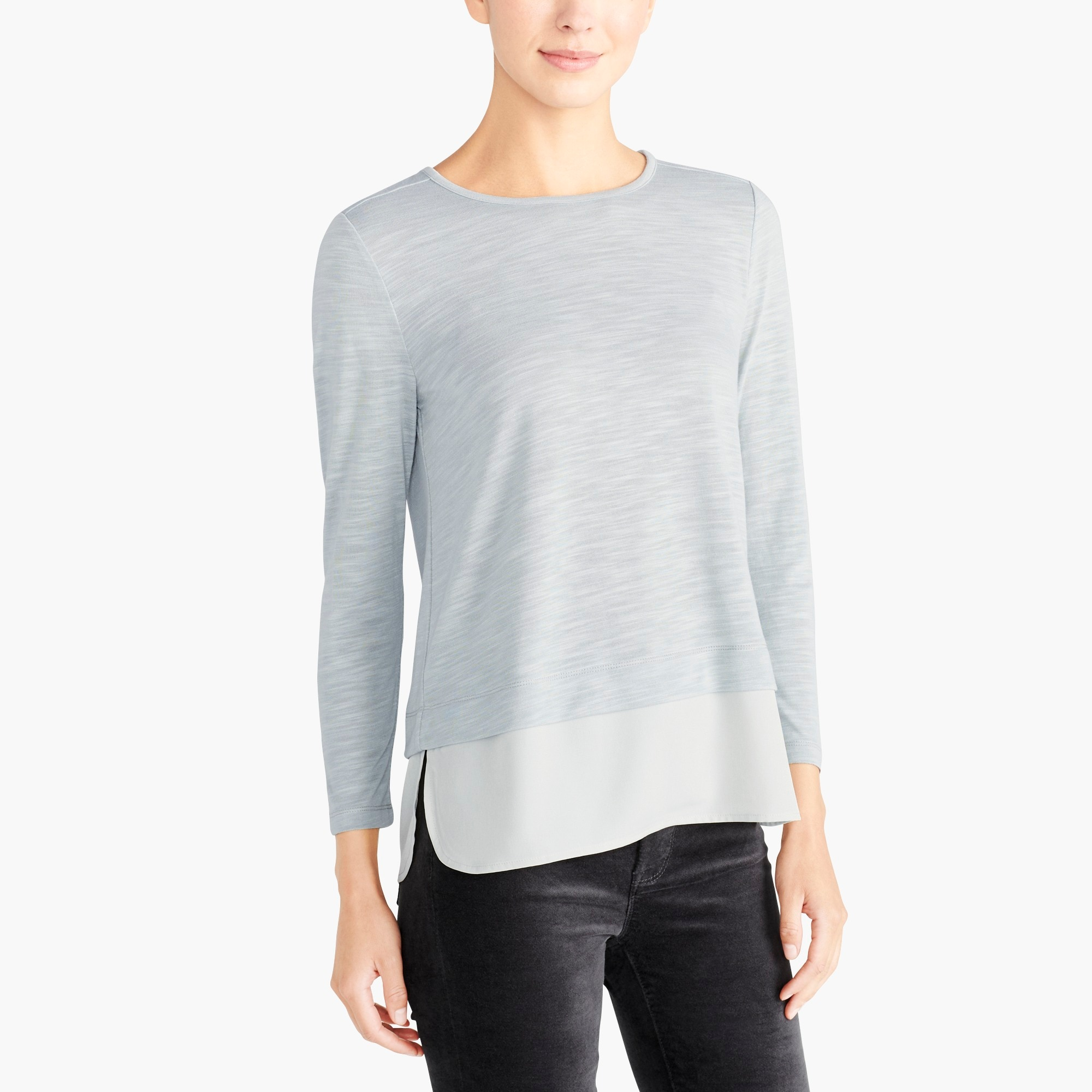 Long-sleeve top with silky hem