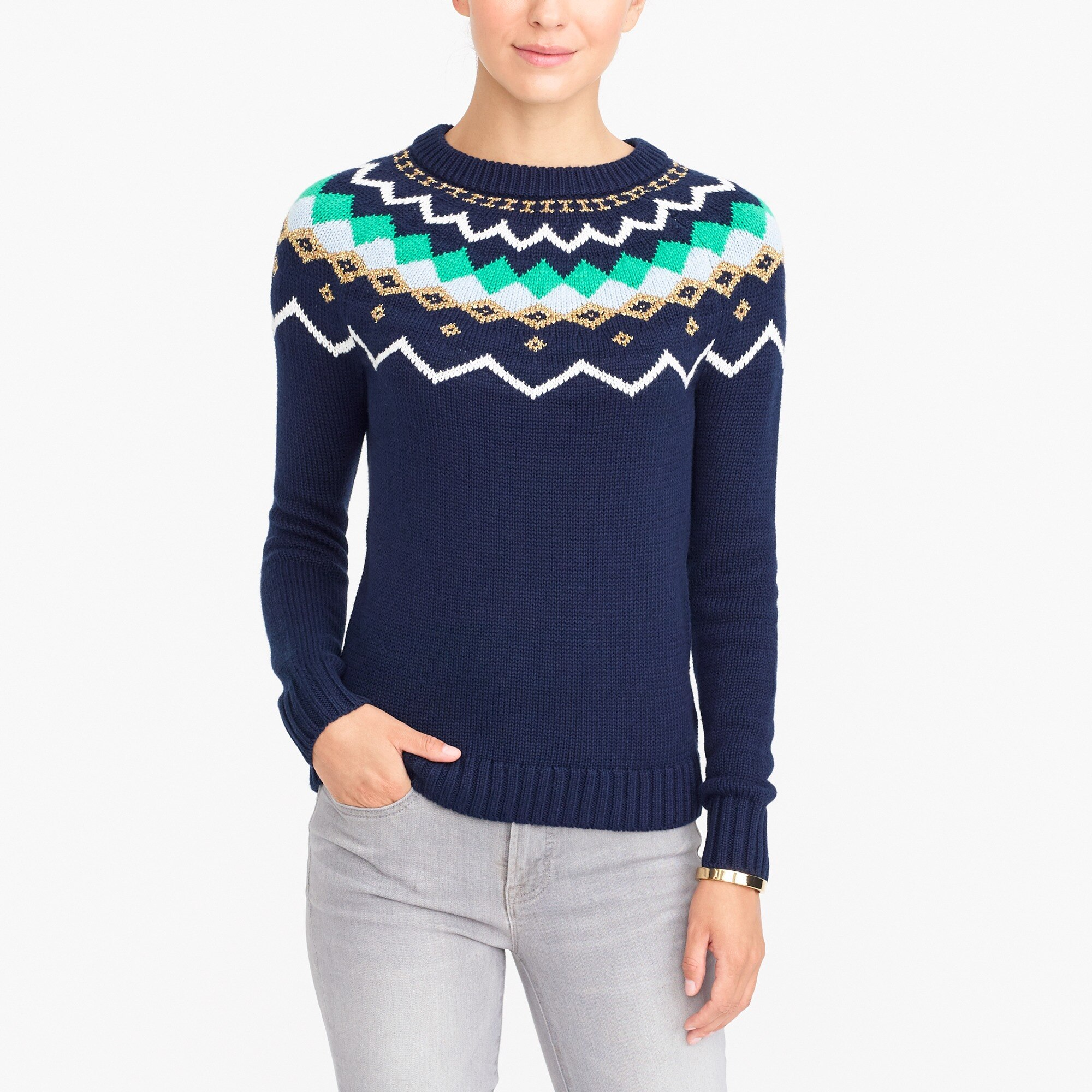 Lurex fair isle sweater