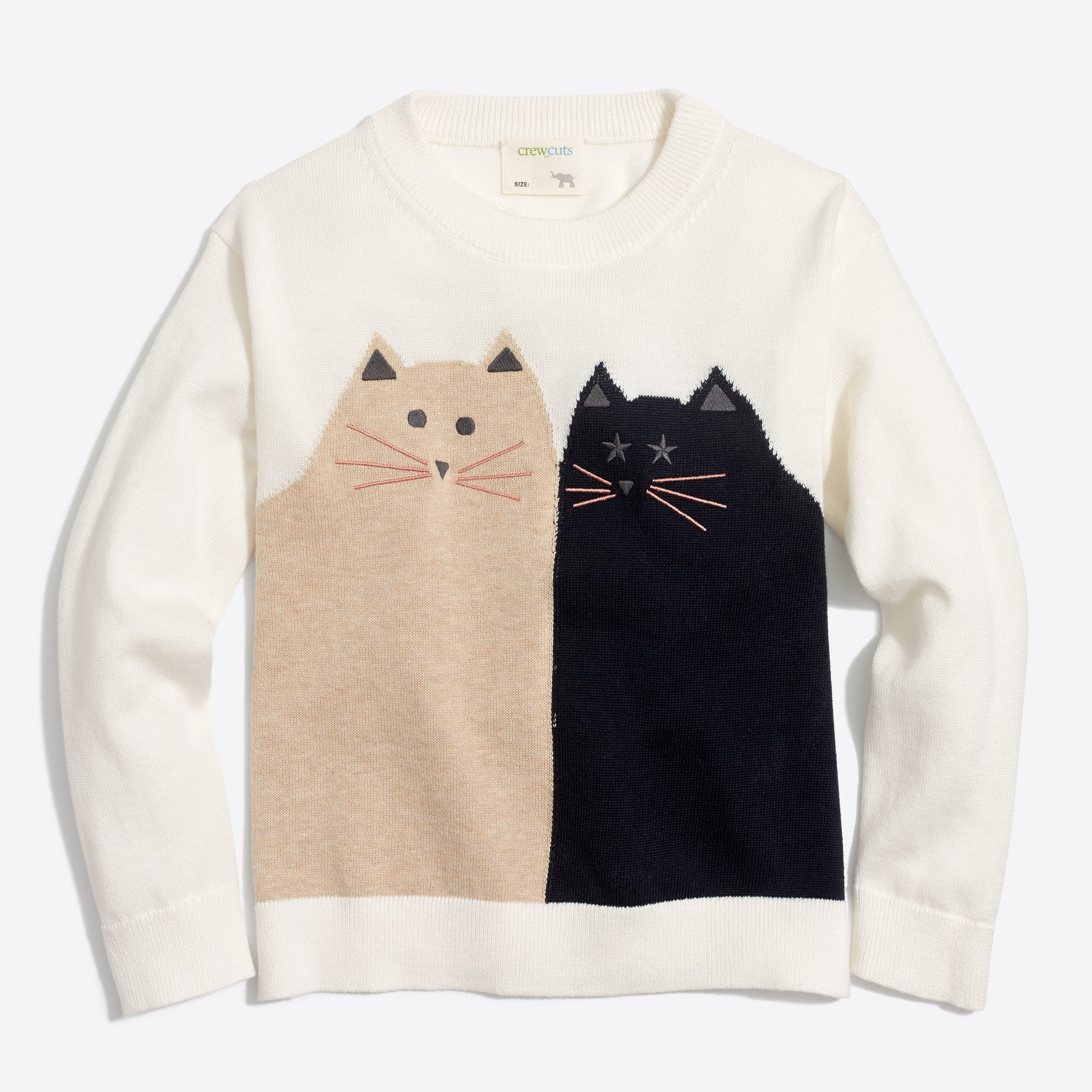 Image 1 for Girls' cat friends popover intarsia sweater